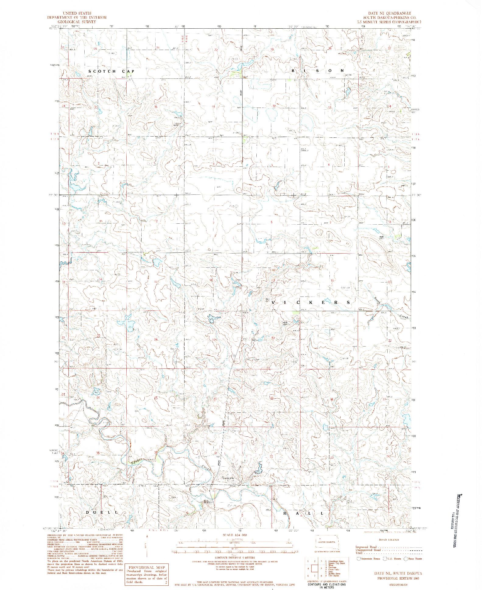 USGS 1:24000-SCALE QUADRANGLE FOR DATE NE, SD 1983