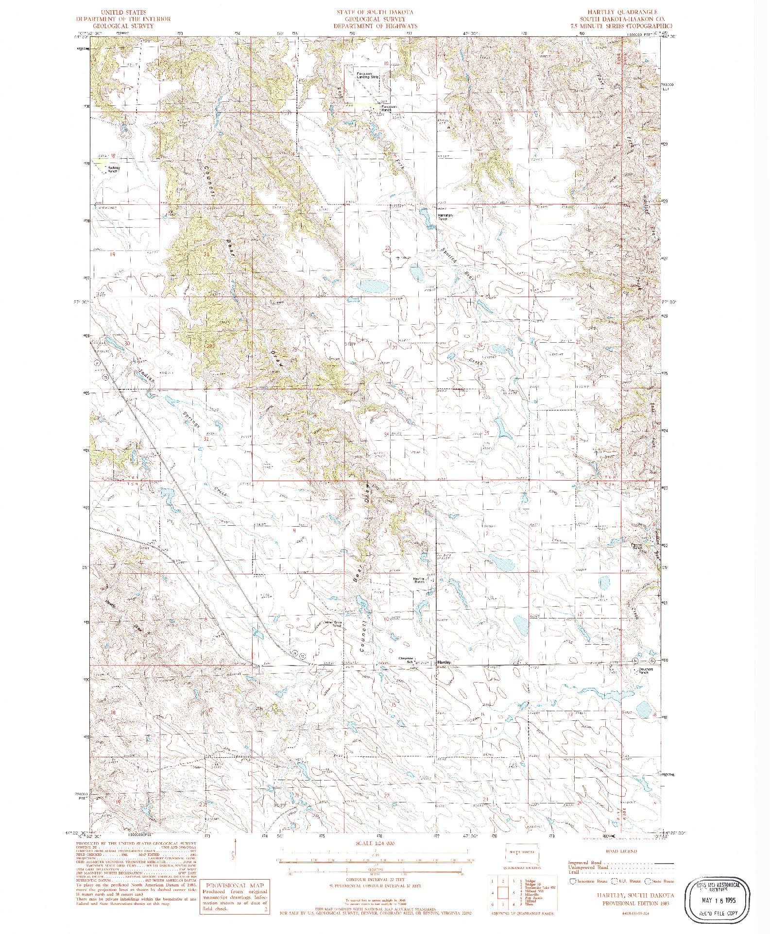 USGS 1:24000-SCALE QUADRANGLE FOR HARTLEY, SD 1983