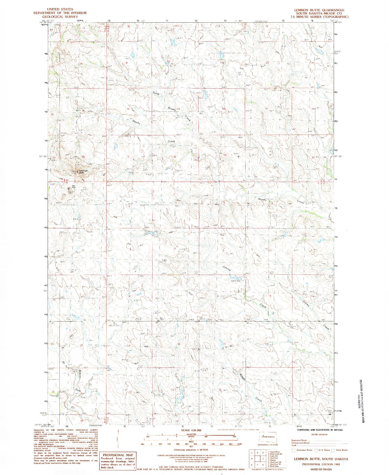 USGS 1:24000-SCALE QUADRANGLE FOR LEMMON BUTTE, SD 1983
