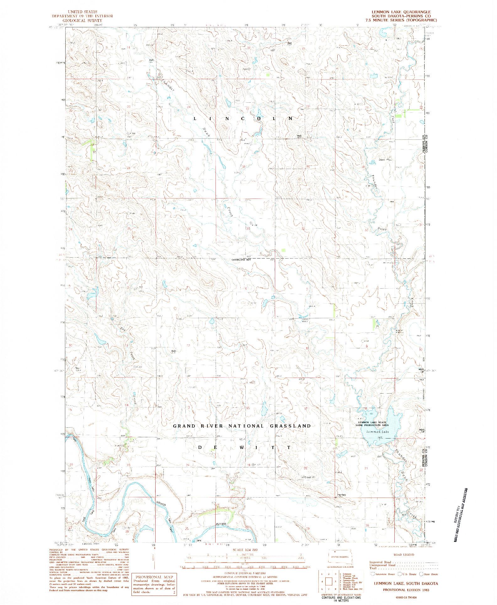 USGS 1:24000-SCALE QUADRANGLE FOR LEMMON LAKE, SD 1983