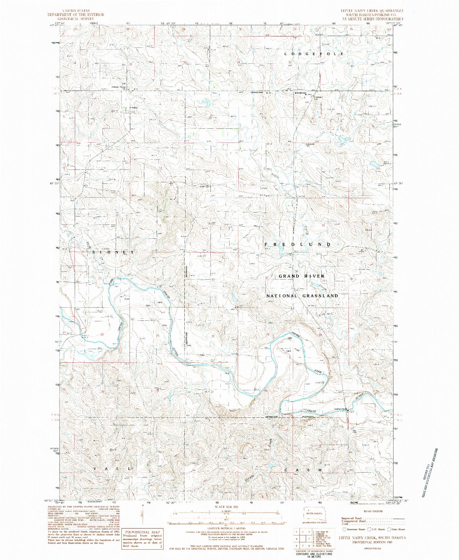 USGS 1:24000-SCALE QUADRANGLE FOR LITTLE NASTY CREEK, SD 1983