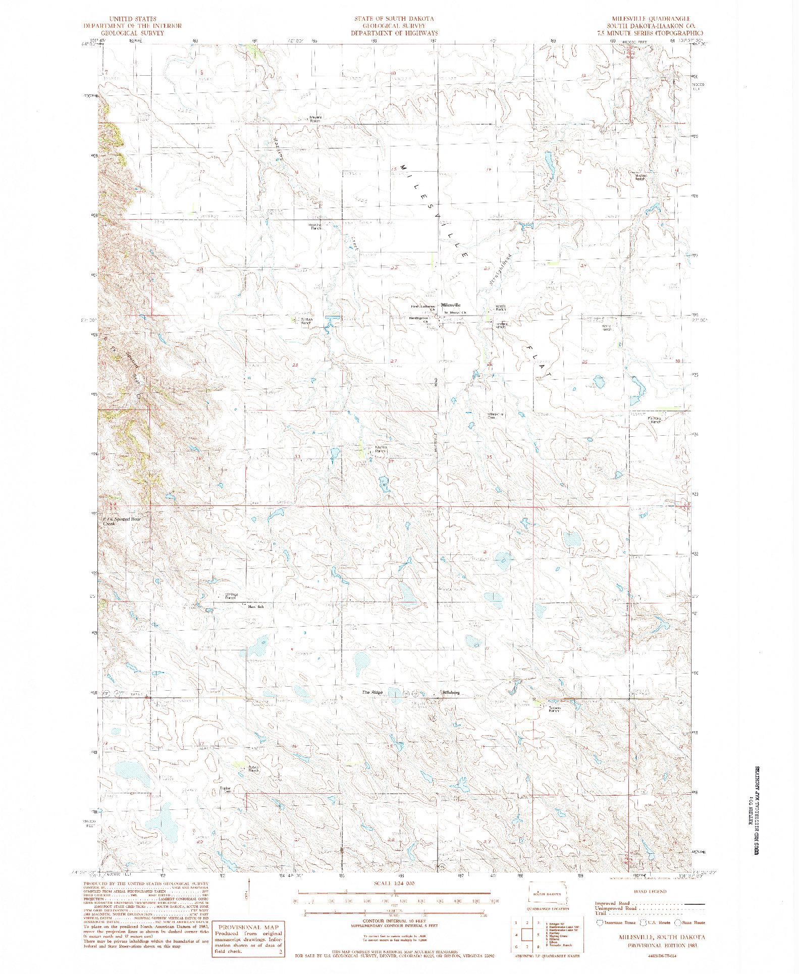 USGS 1:24000-SCALE QUADRANGLE FOR MILESVILLE, SD 1983