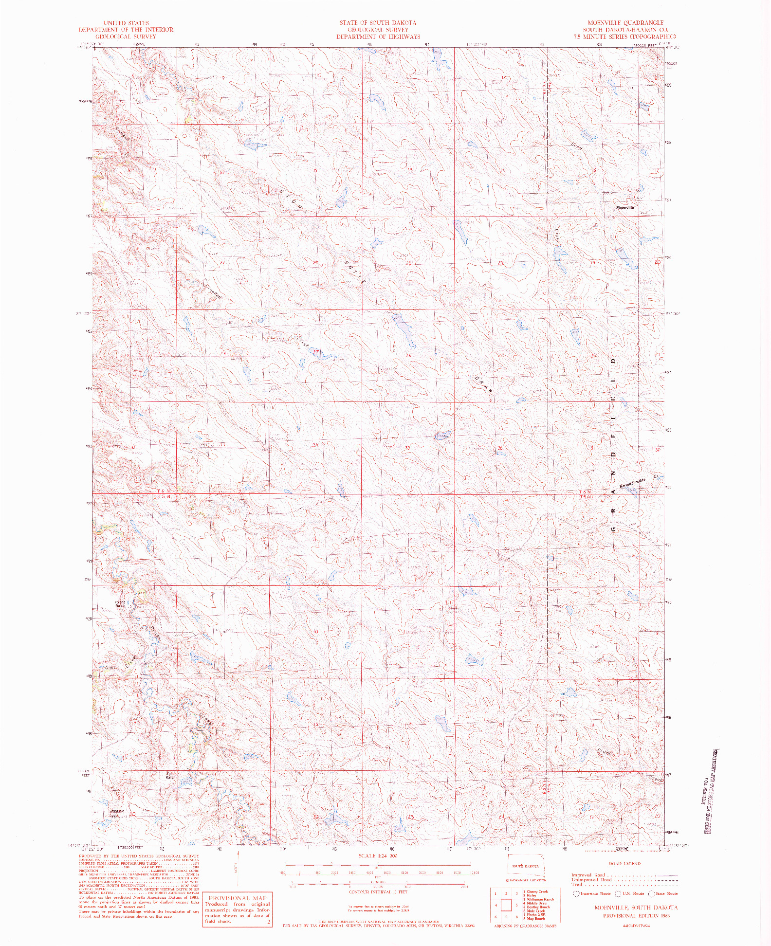 USGS 1:24000-SCALE QUADRANGLE FOR MOENVILLE, SD 1983
