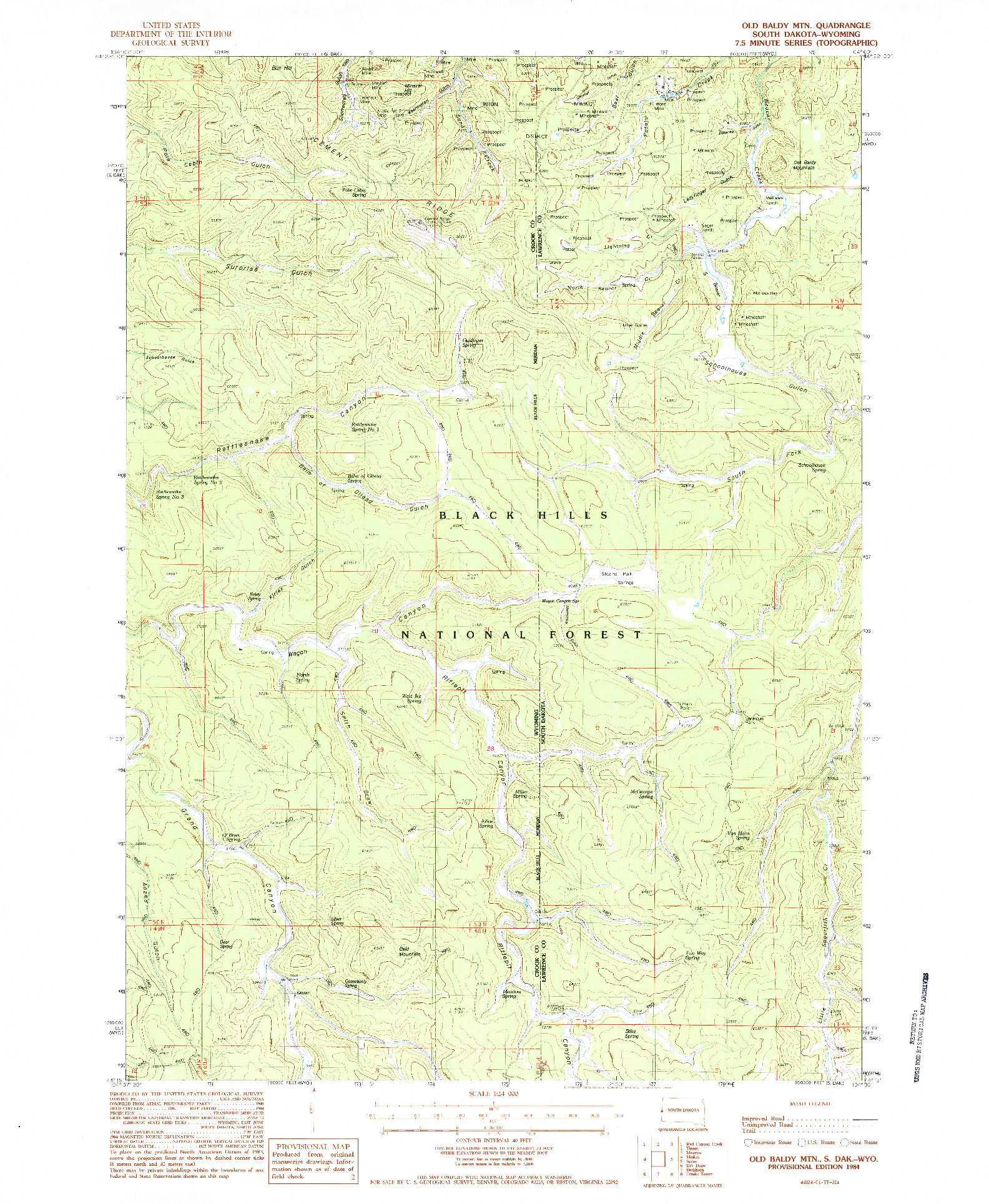 USGS 1:24000-SCALE QUADRANGLE FOR OLD BALDY MTN, SD 1984