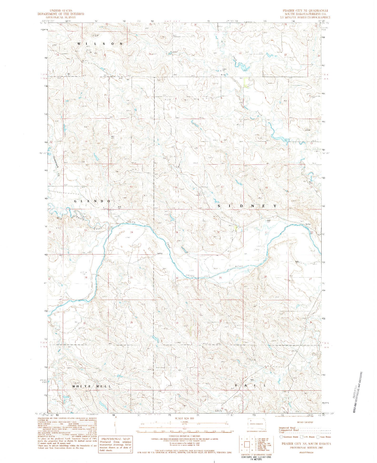 USGS 1:24000-SCALE QUADRANGLE FOR PRAIRIE CITY NE, SD 1983