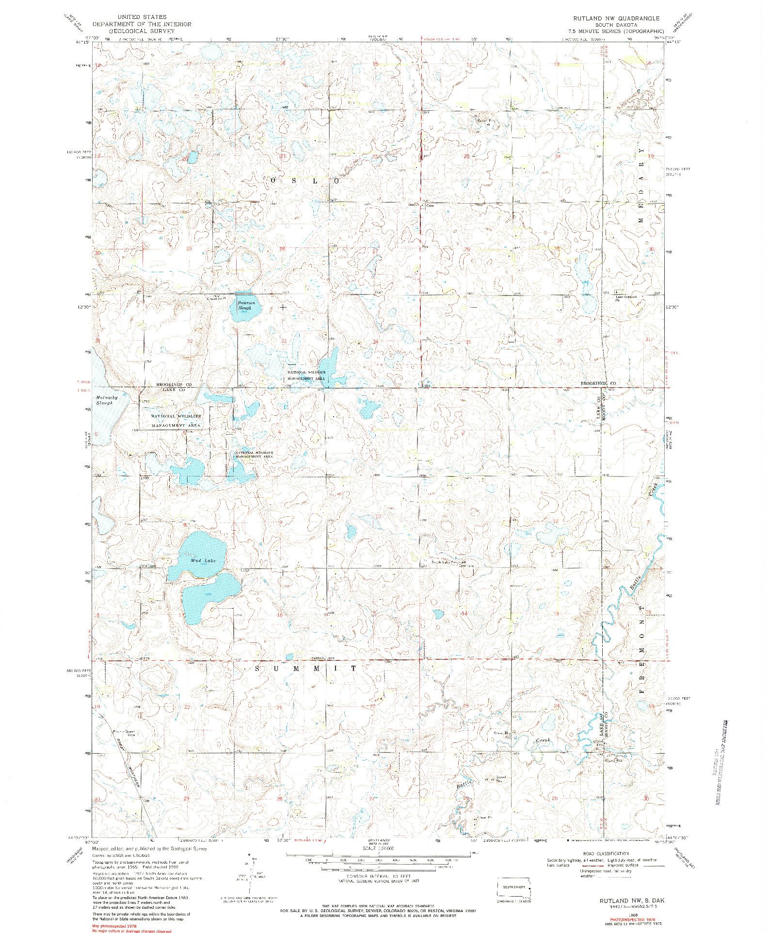 USGS 1:24000-SCALE QUADRANGLE FOR RUTLAND NW, SD 1968