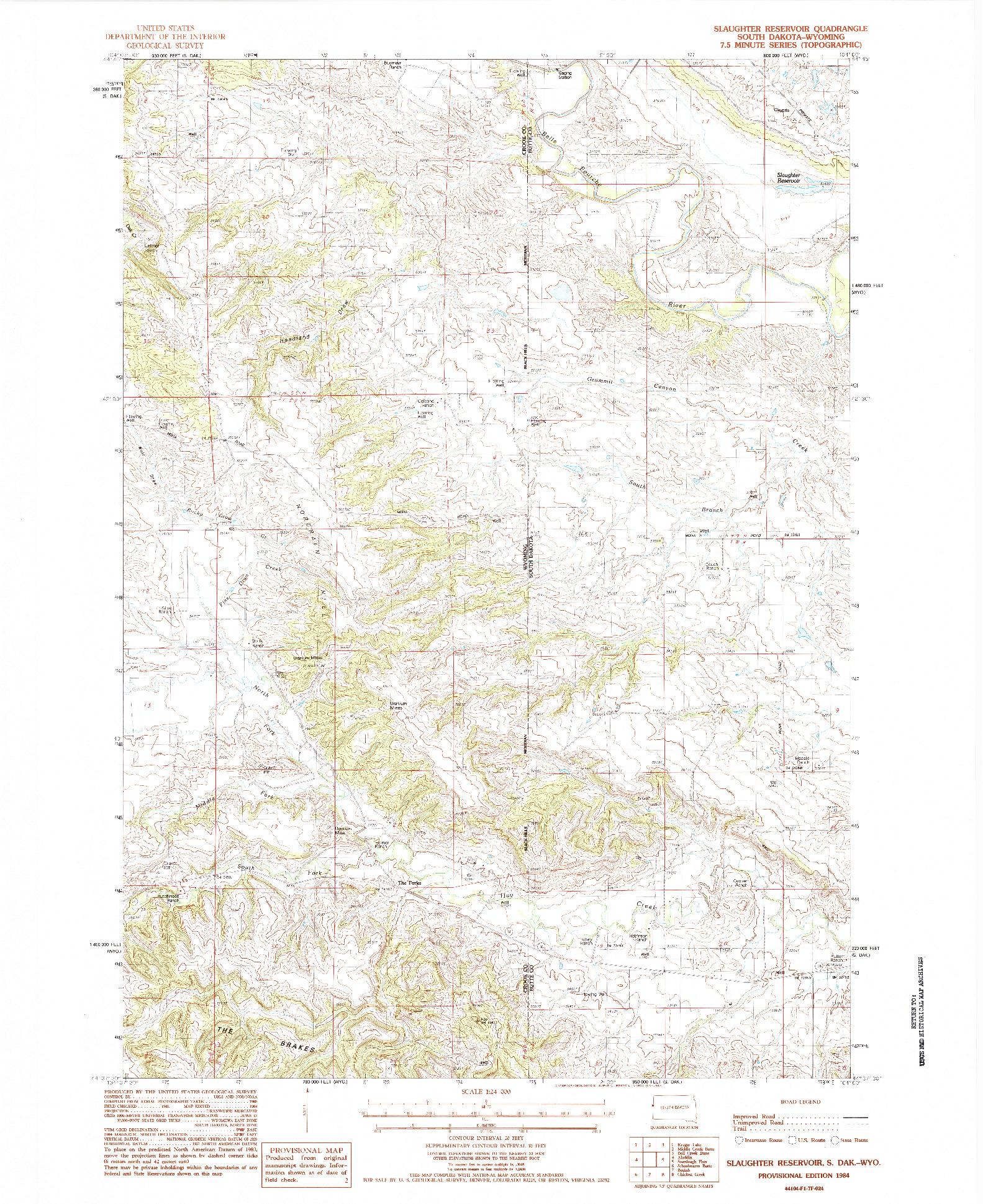 USGS 1:24000-SCALE QUADRANGLE FOR SLAUGHTER RESERVOIR, SD 1984