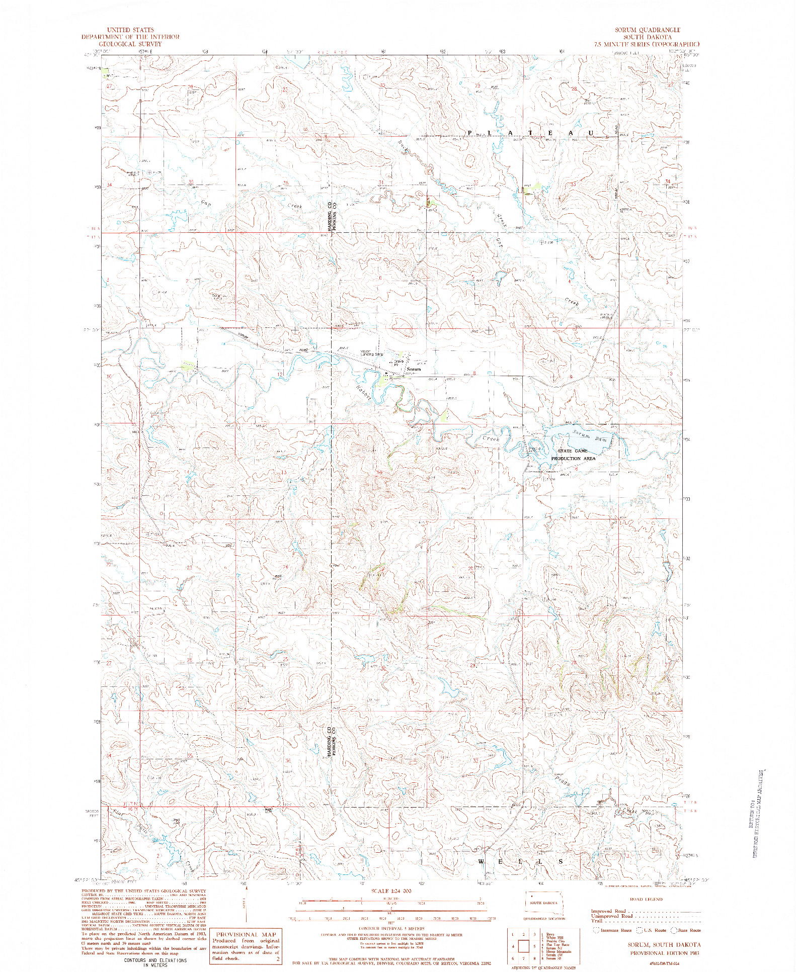 USGS 1:24000-SCALE QUADRANGLE FOR SORUM, SD 1983