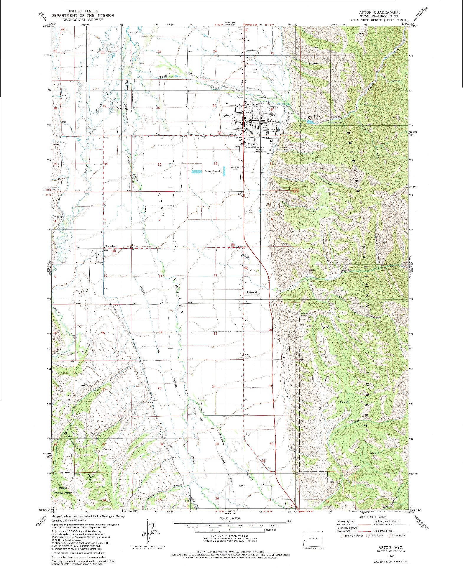 USGS 1:24000-SCALE QUADRANGLE FOR AFTON, WY 1980