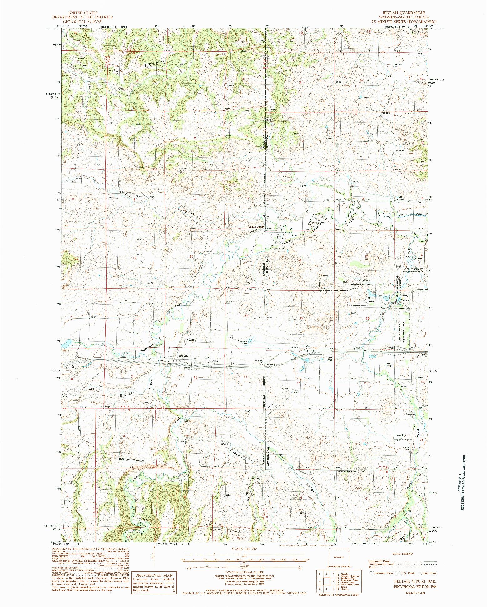 USGS 1:24000-SCALE QUADRANGLE FOR BEULAH, WY 1984