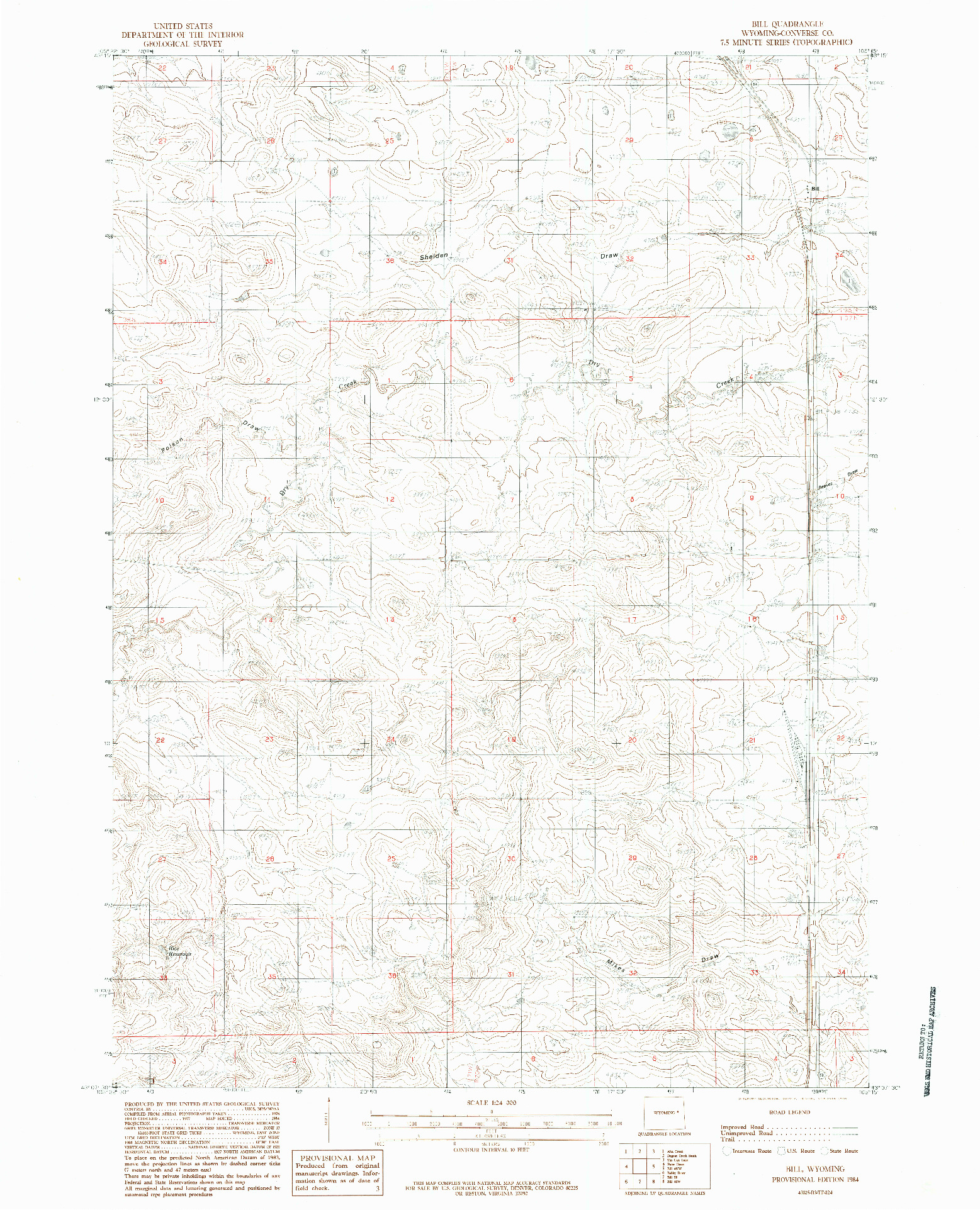 USGS 1:24000-SCALE QUADRANGLE FOR BILL, WY 1984