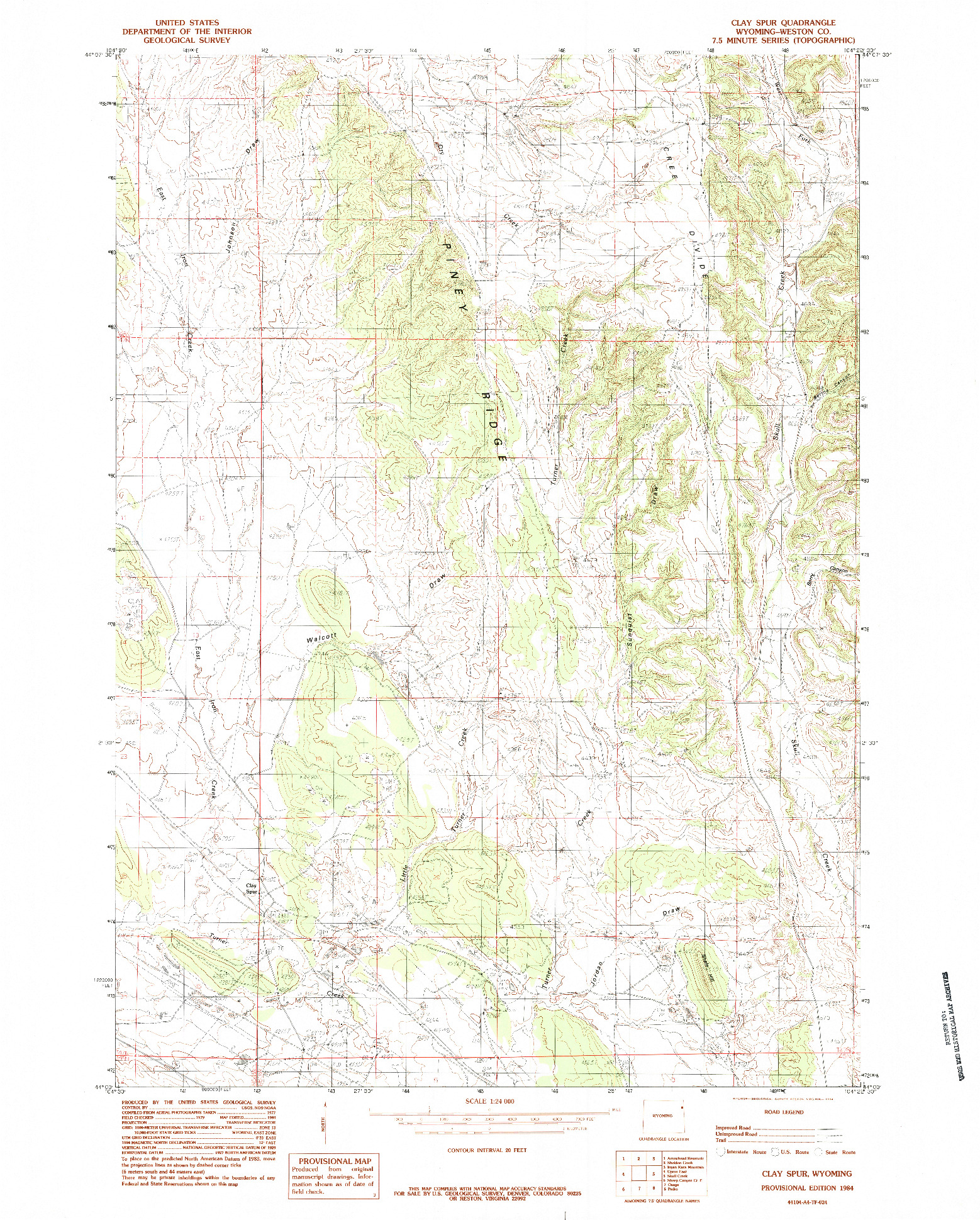 USGS 1:24000-SCALE QUADRANGLE FOR CLAY SPUR, WY 1984