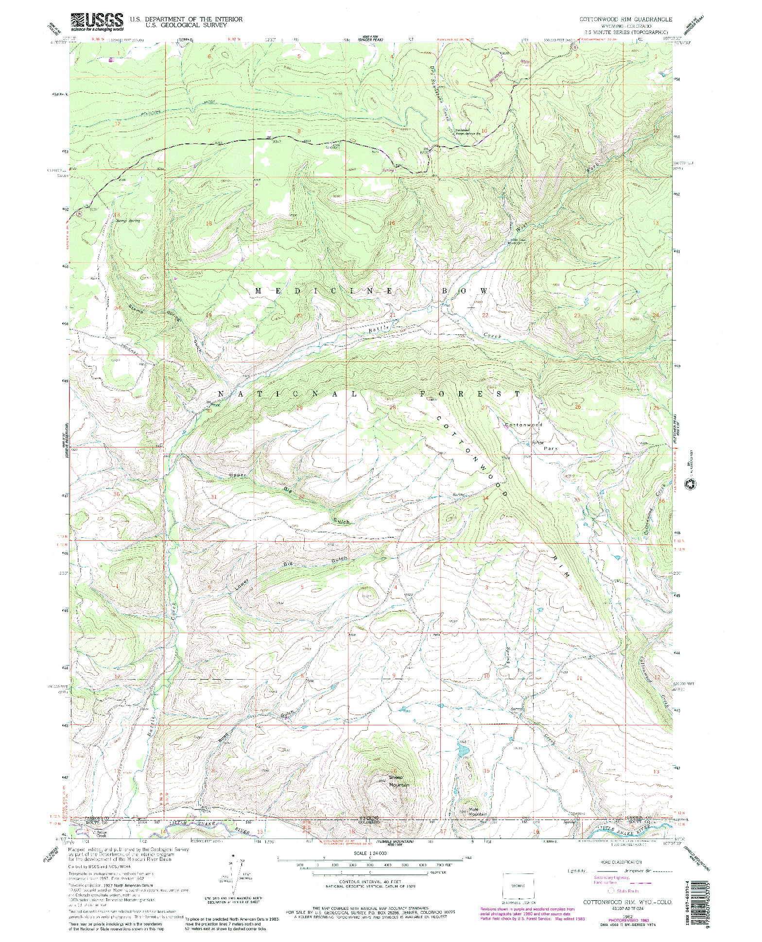 USGS 1:24000-SCALE QUADRANGLE FOR COTTONWOOD RIM, WY 1962