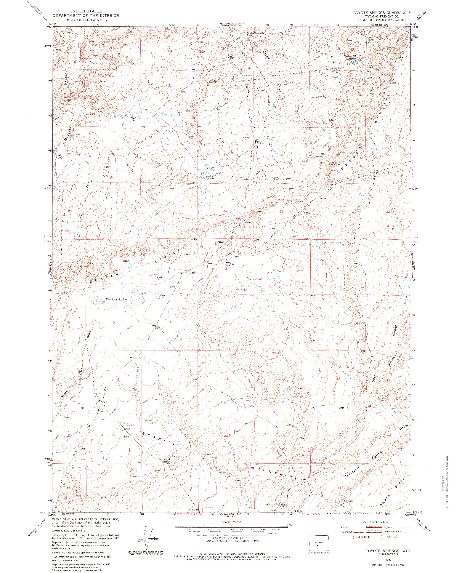 USGS 1:24000-SCALE QUADRANGLE FOR COYOTE SPRINGS, WY 1952