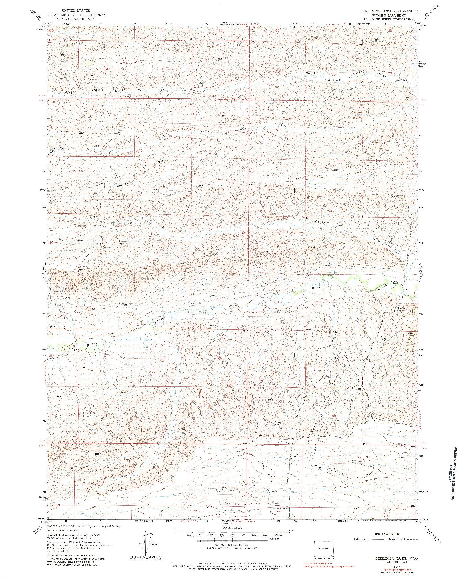 USGS 1:24000-SCALE QUADRANGLE FOR DEREEMER RANCH, WY 1962