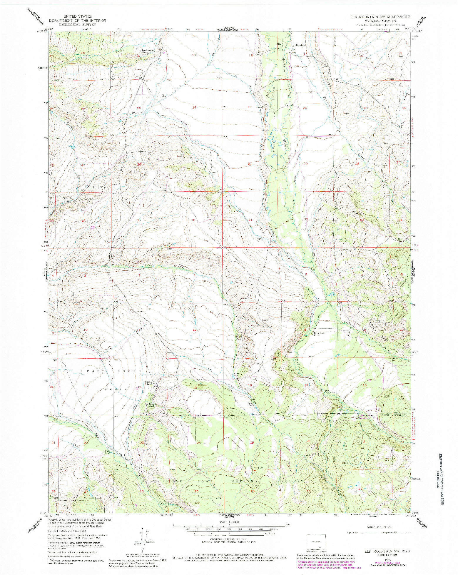USGS 1:24000-SCALE QUADRANGLE FOR ELK MOUNTAIN SW, WY 1955