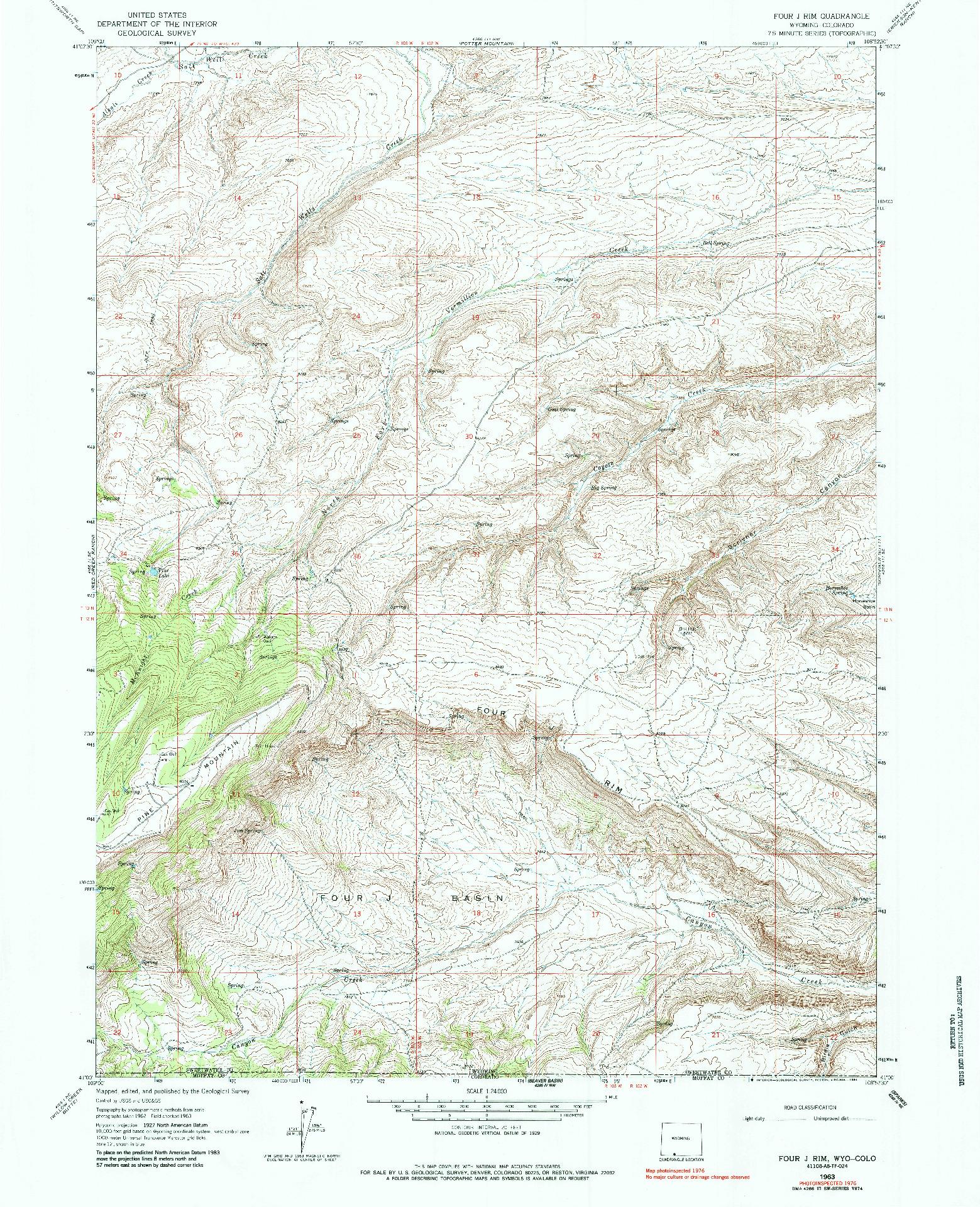 USGS 1:24000-SCALE QUADRANGLE FOR FOUR J RIM, WY 1963
