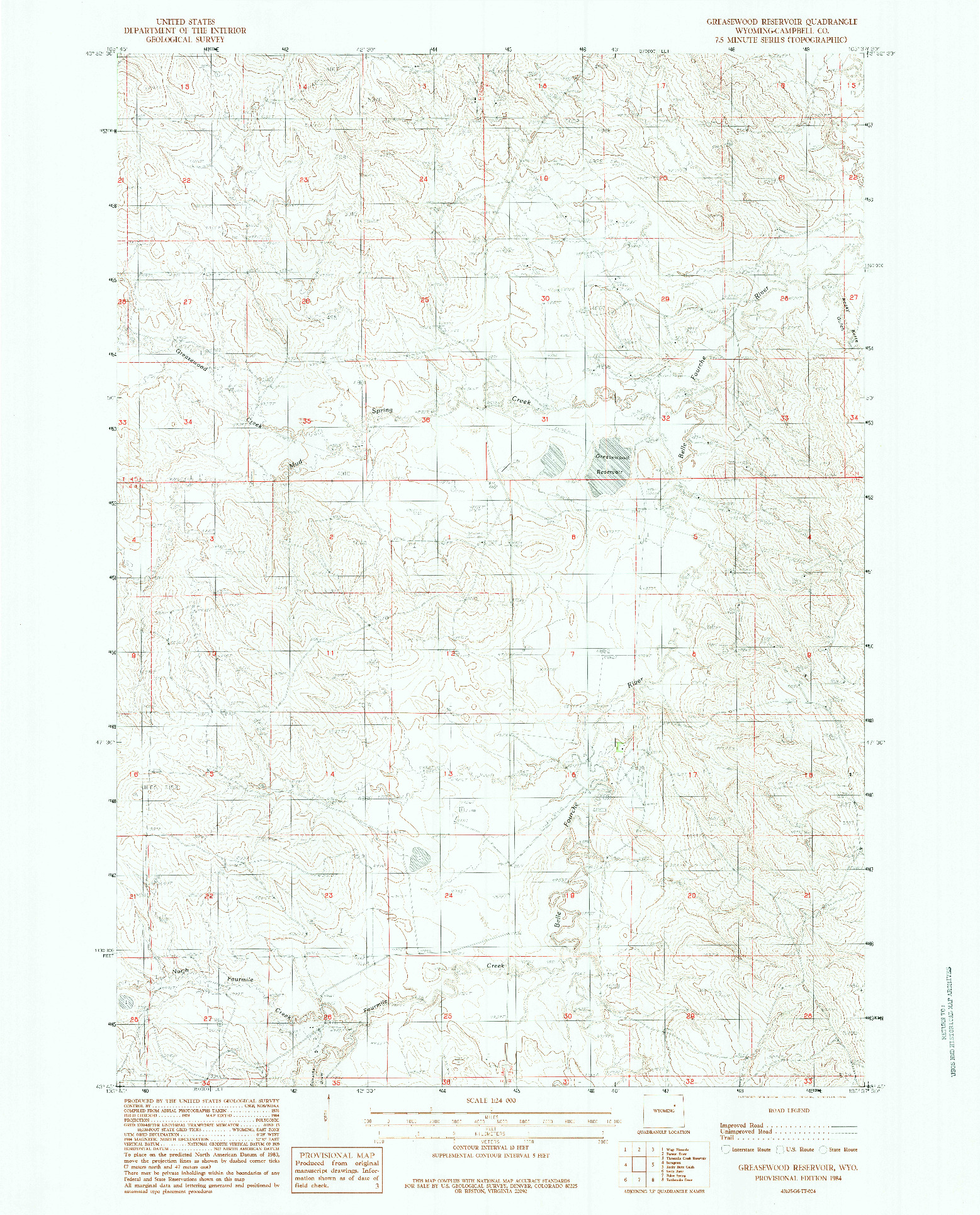 USGS 1:24000-SCALE QUADRANGLE FOR GREASEWOOD RESERVOIR, WY 1984