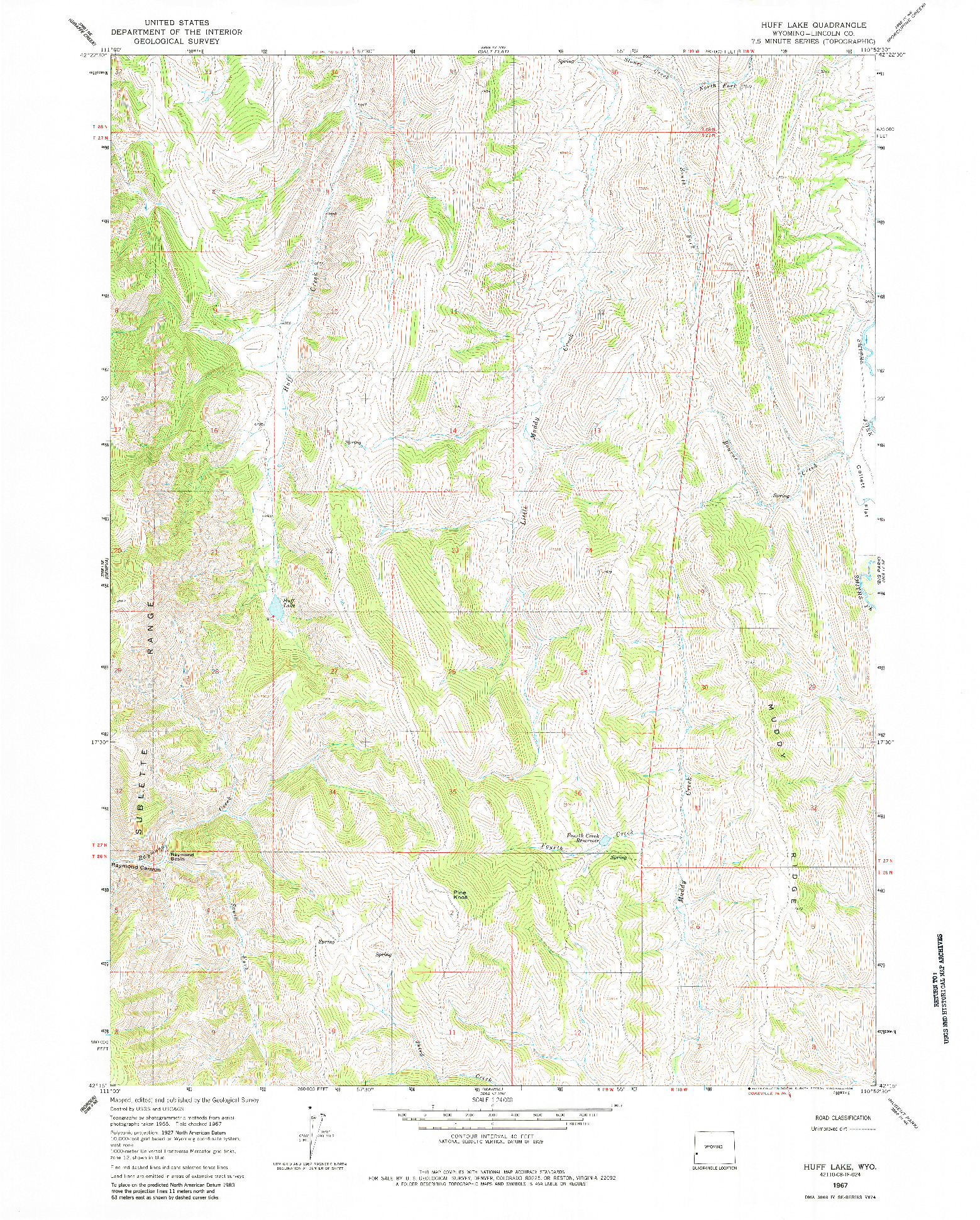 USGS 1:24000-SCALE QUADRANGLE FOR HUFF LAKE, WY 1967