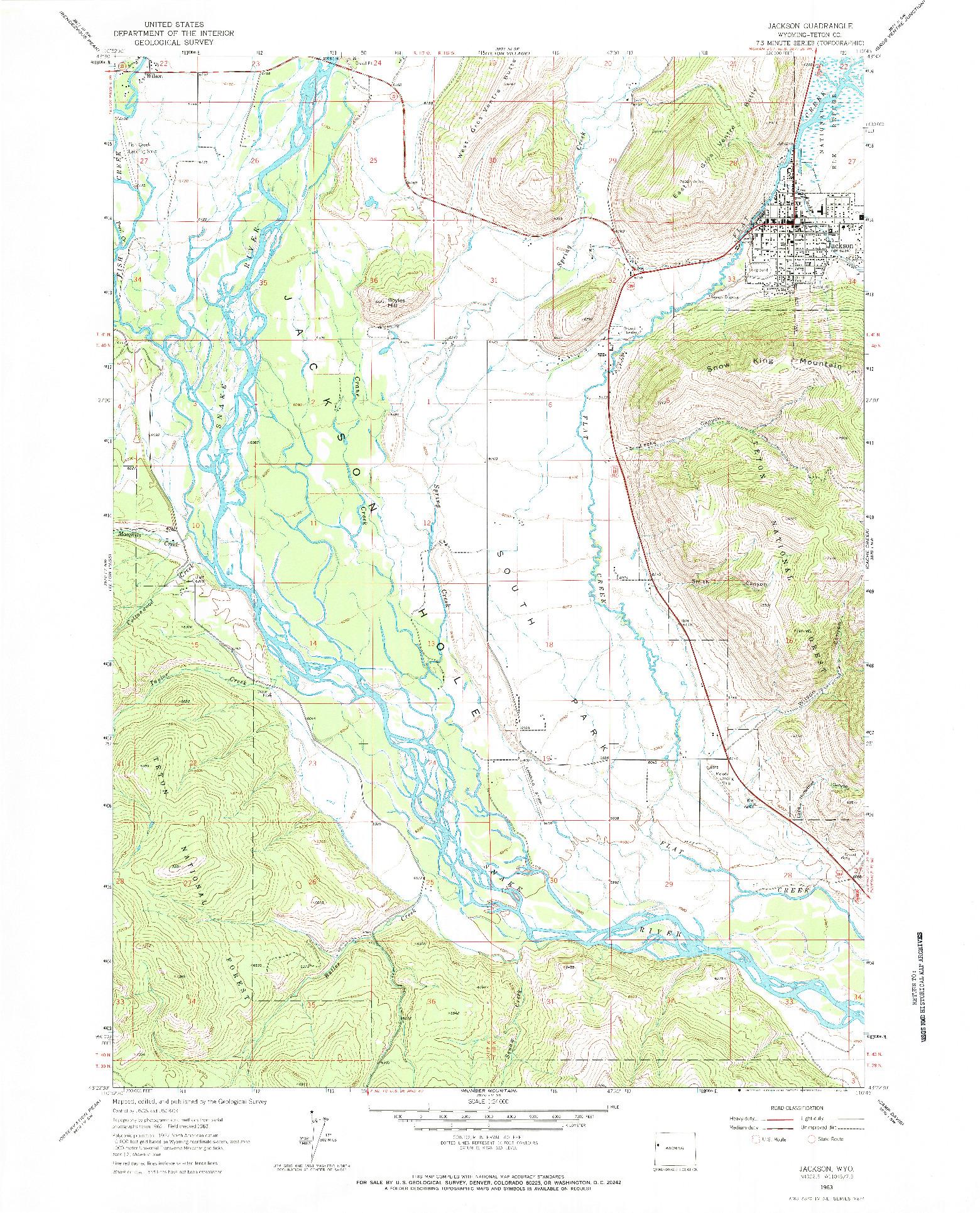 USGS 1:24000-SCALE QUADRANGLE FOR JACKSON, WY 1963
