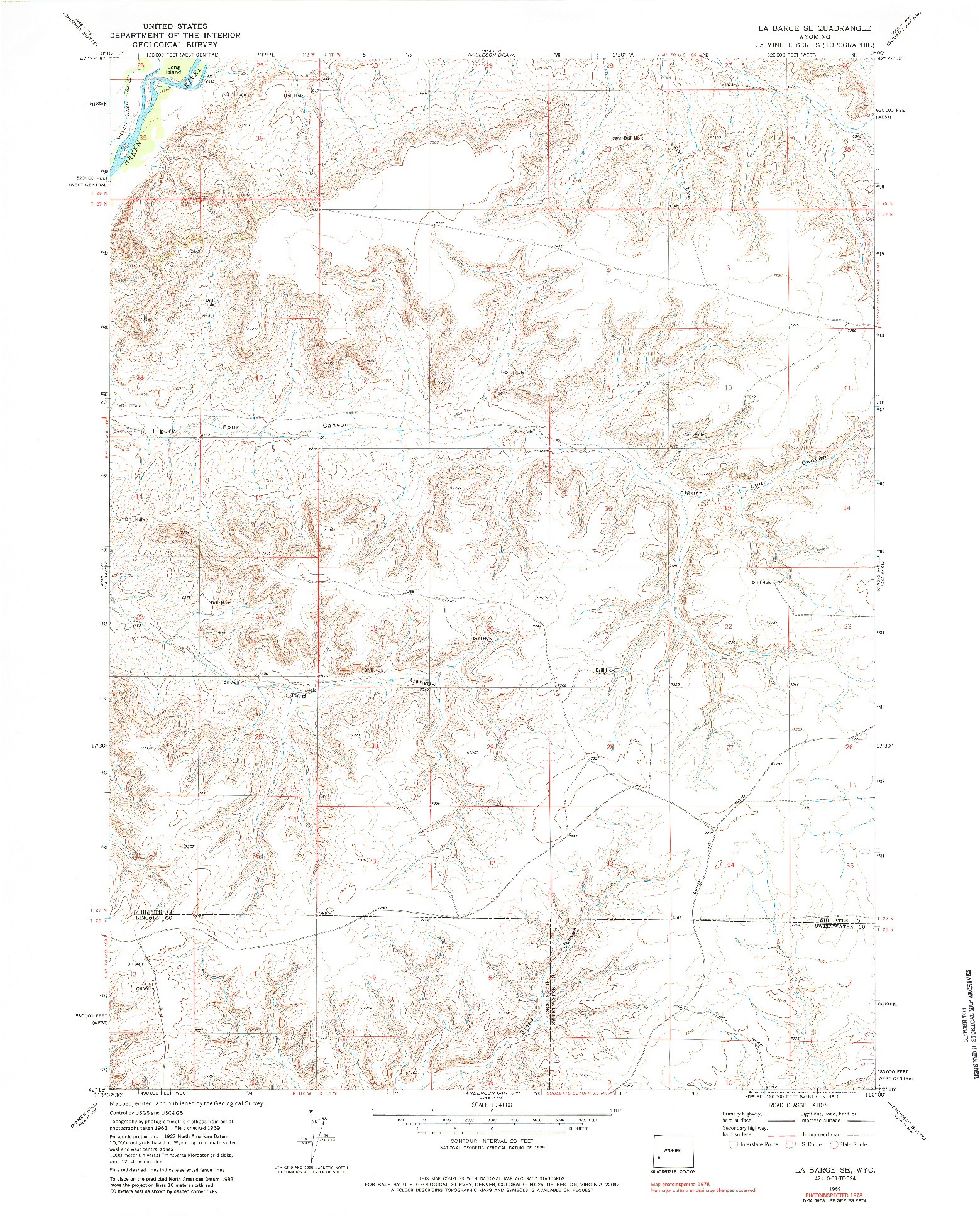 USGS 1:24000-SCALE QUADRANGLE FOR LA BARGE SE, WY 1969