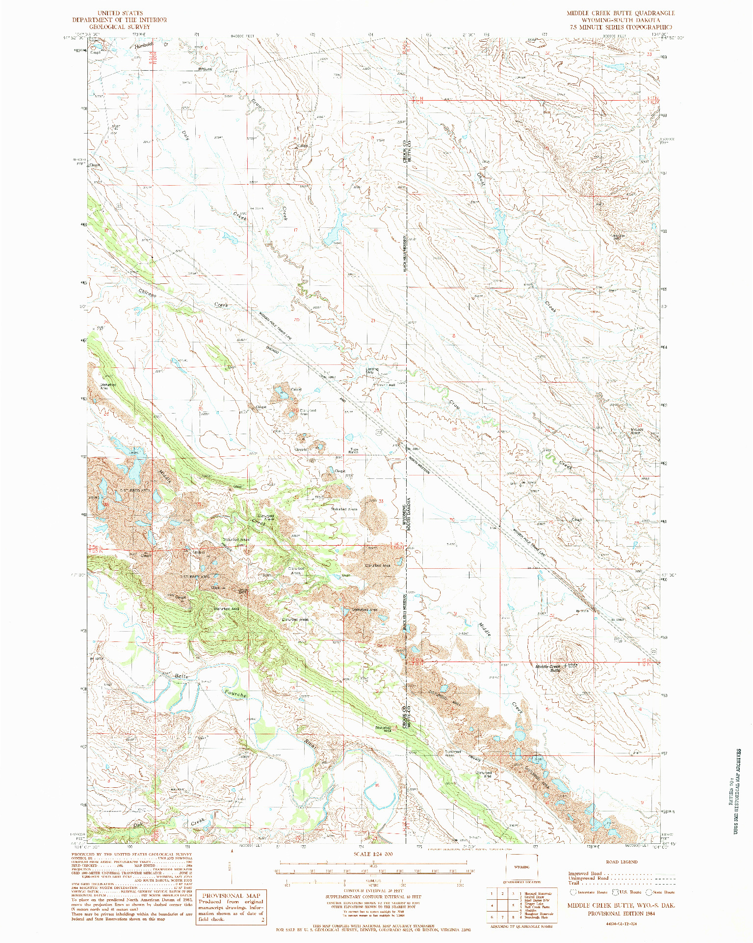USGS 1:24000-SCALE QUADRANGLE FOR MIDDLE CREEK BUTTE, WY 1984