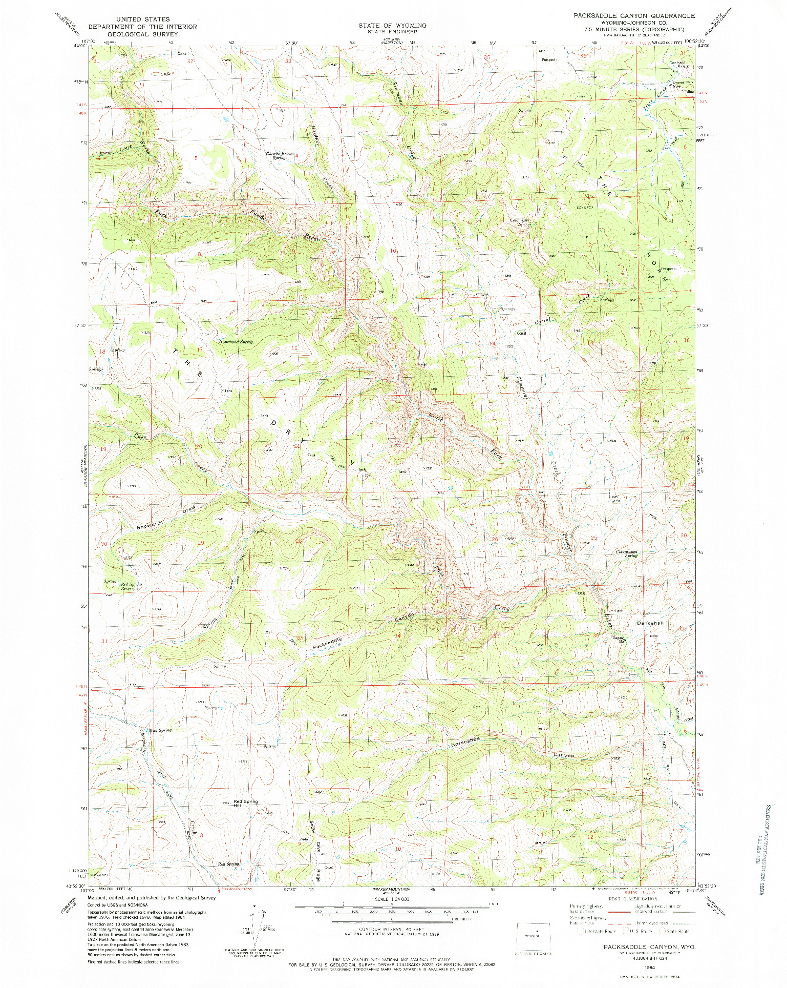 USGS 1:24000-SCALE QUADRANGLE FOR PACKSADDLE CANYON, WY 1984