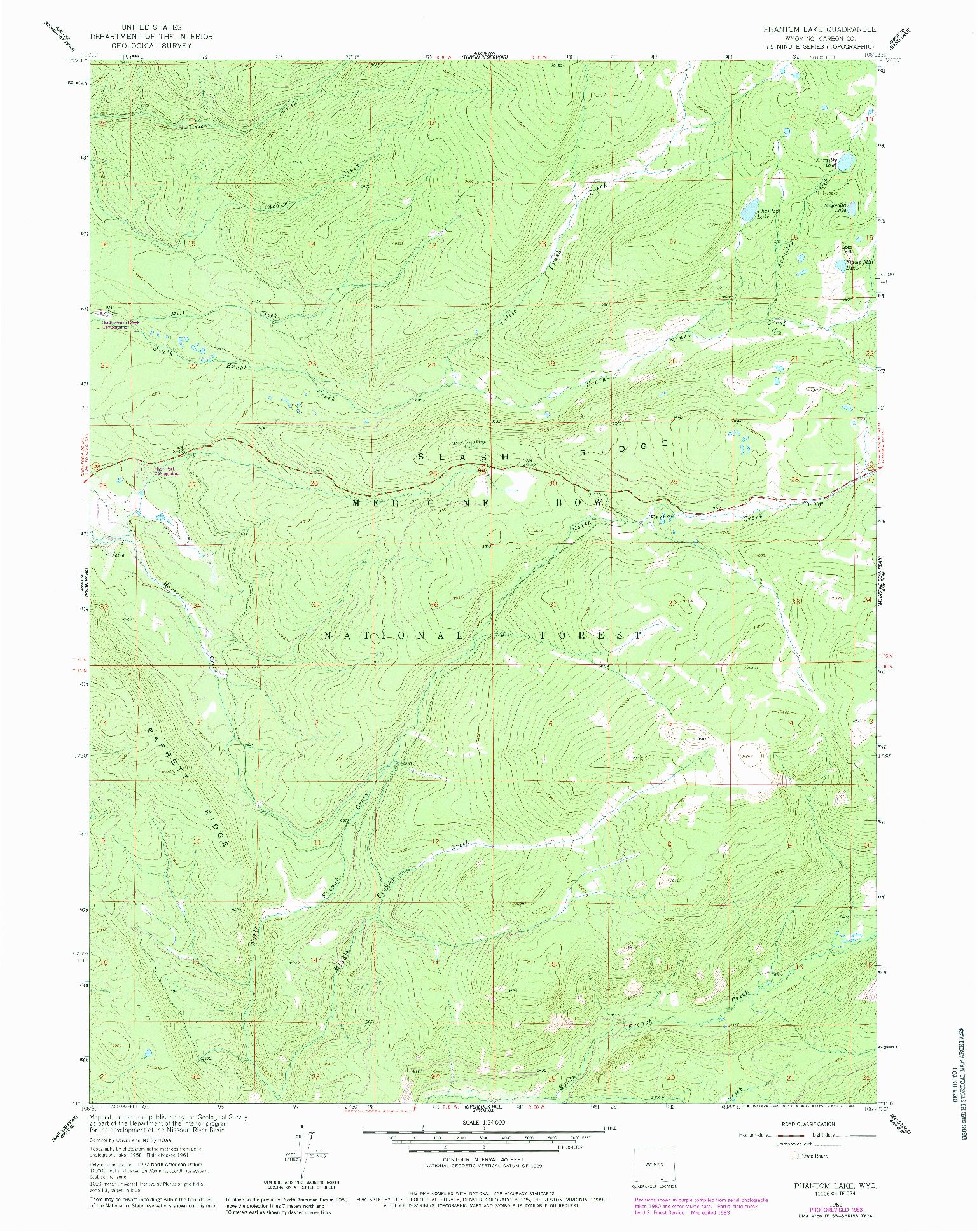 USGS 1:24000-SCALE QUADRANGLE FOR PHANTOM LAKE, WY 1961