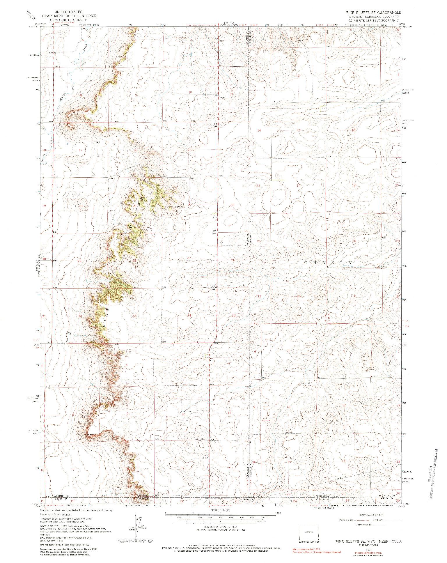 USGS 1:24000-SCALE QUADRANGLE FOR PINE BLUFFS SE, WY 1963