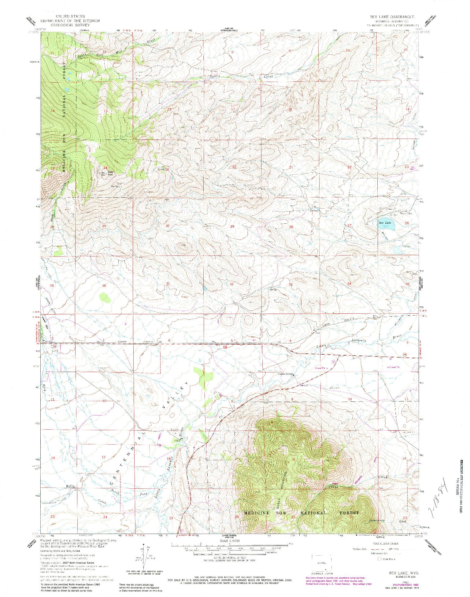 USGS 1:24000-SCALE QUADRANGLE FOR REX LAKE, WY 1961