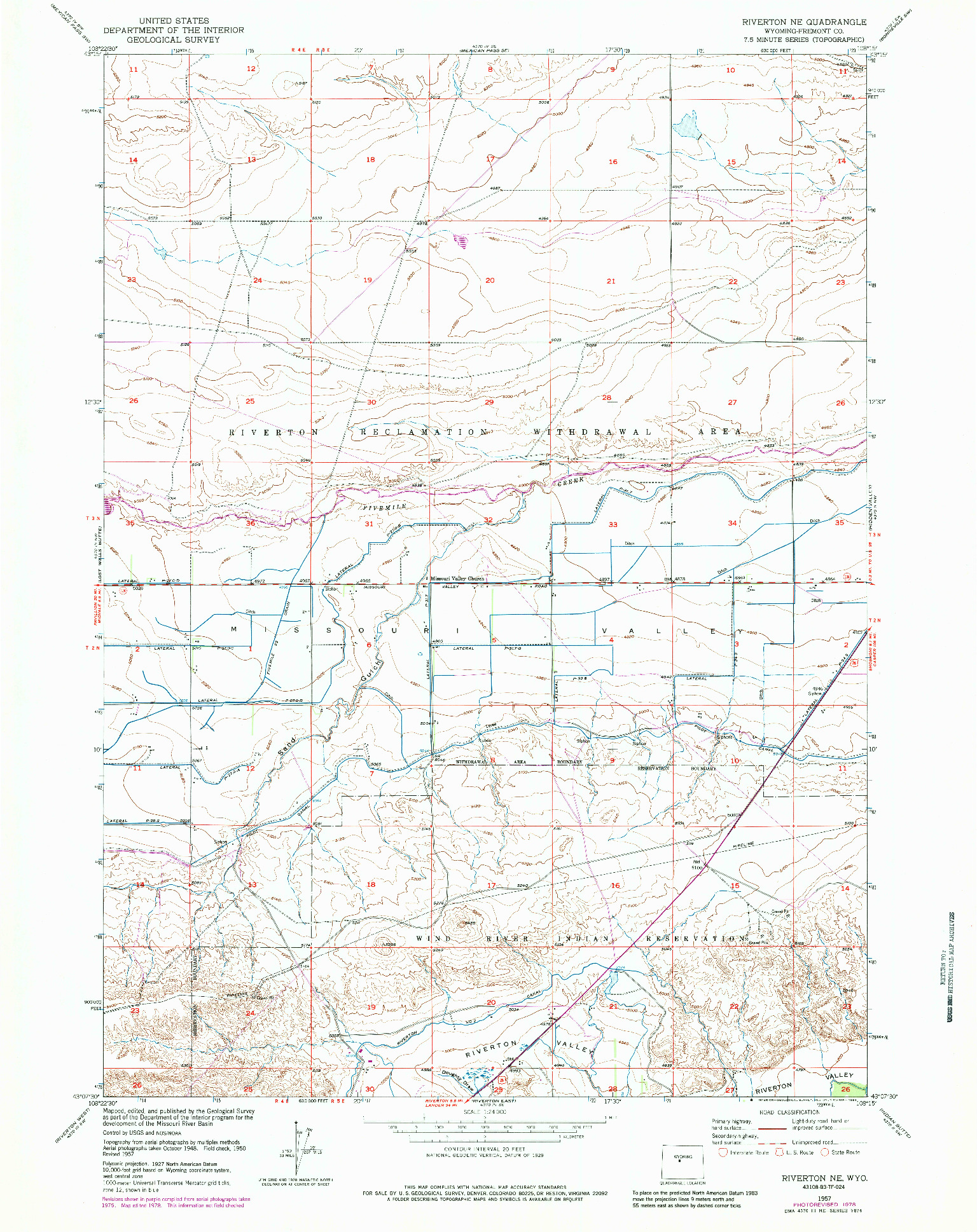 USGS 1:24000-SCALE QUADRANGLE FOR RIVERTON NE, WY 1957