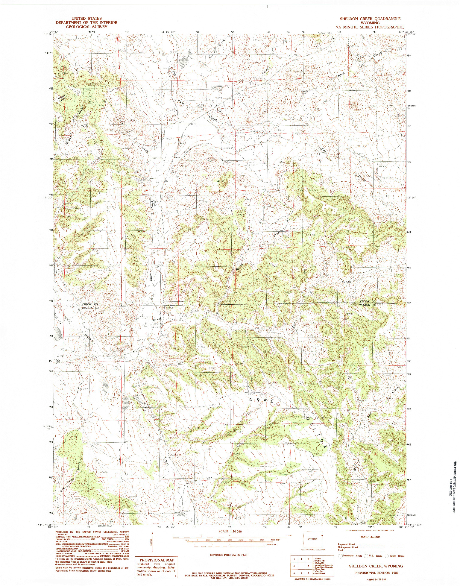 USGS 1:24000-SCALE QUADRANGLE FOR SHELDON CREEK, WY 1984