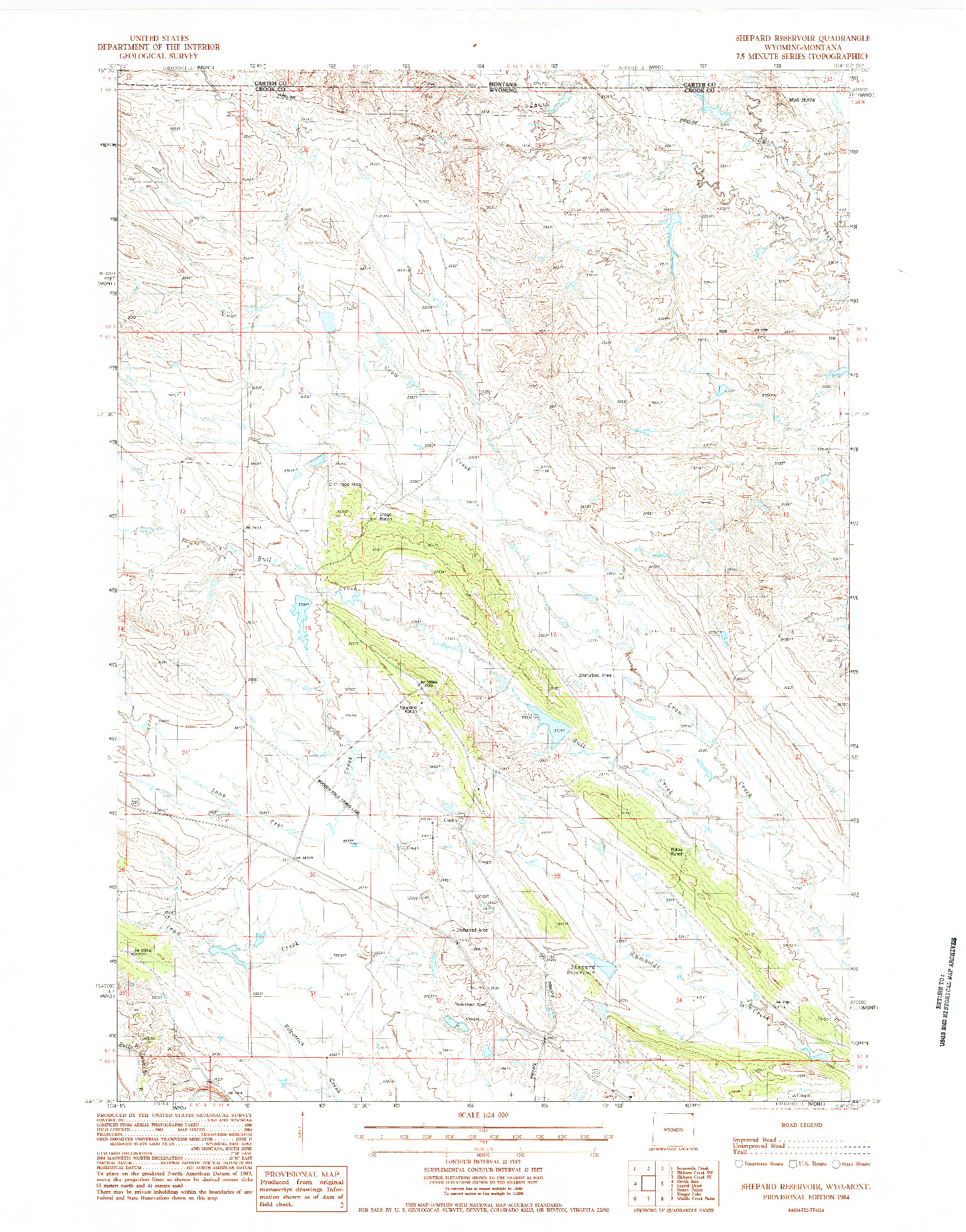 USGS 1:24000-SCALE QUADRANGLE FOR SHEPARD RESERVOIR, WY 1984