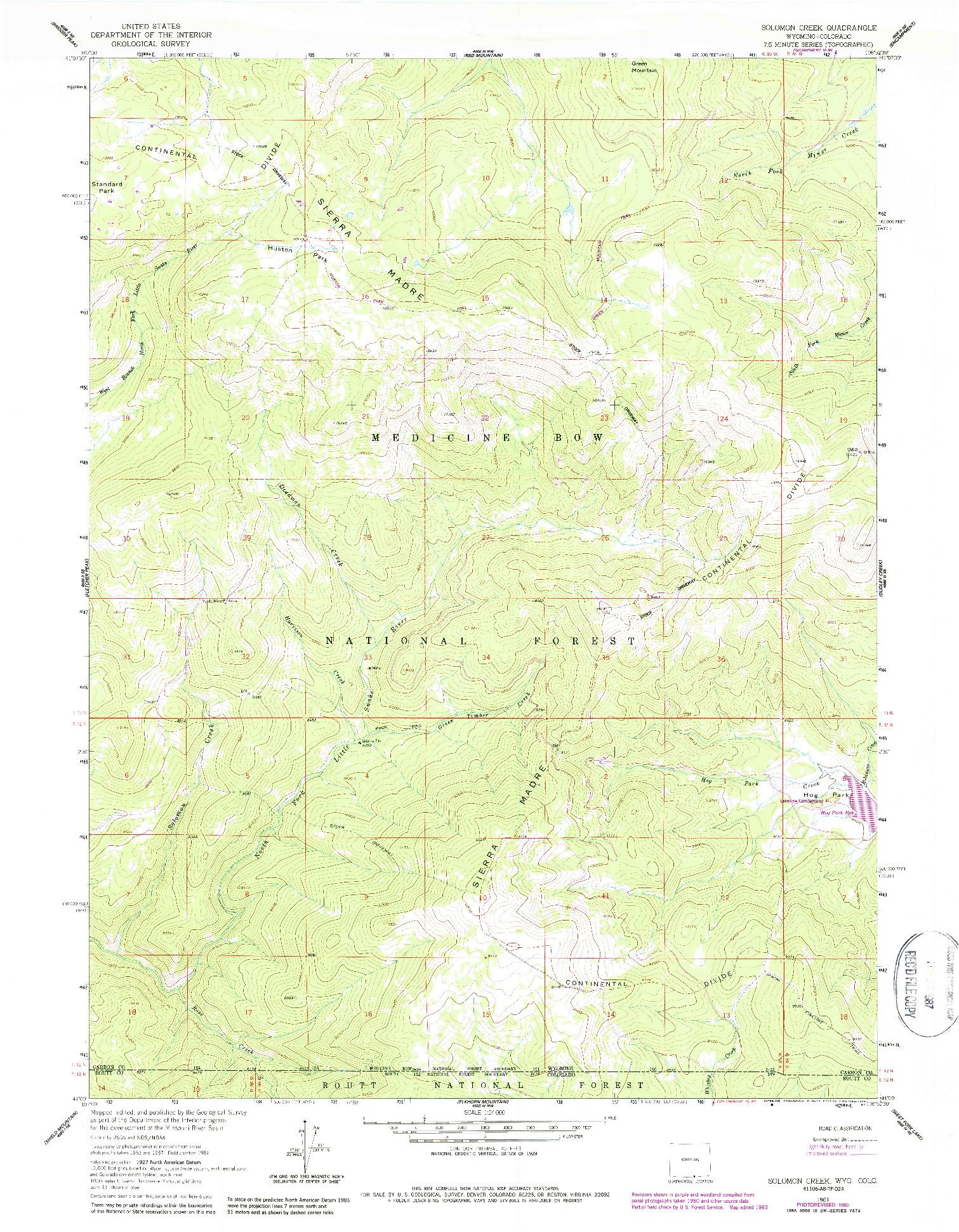 USGS 1:24000-SCALE QUADRANGLE FOR SOLOMON CREEK, WY 1961