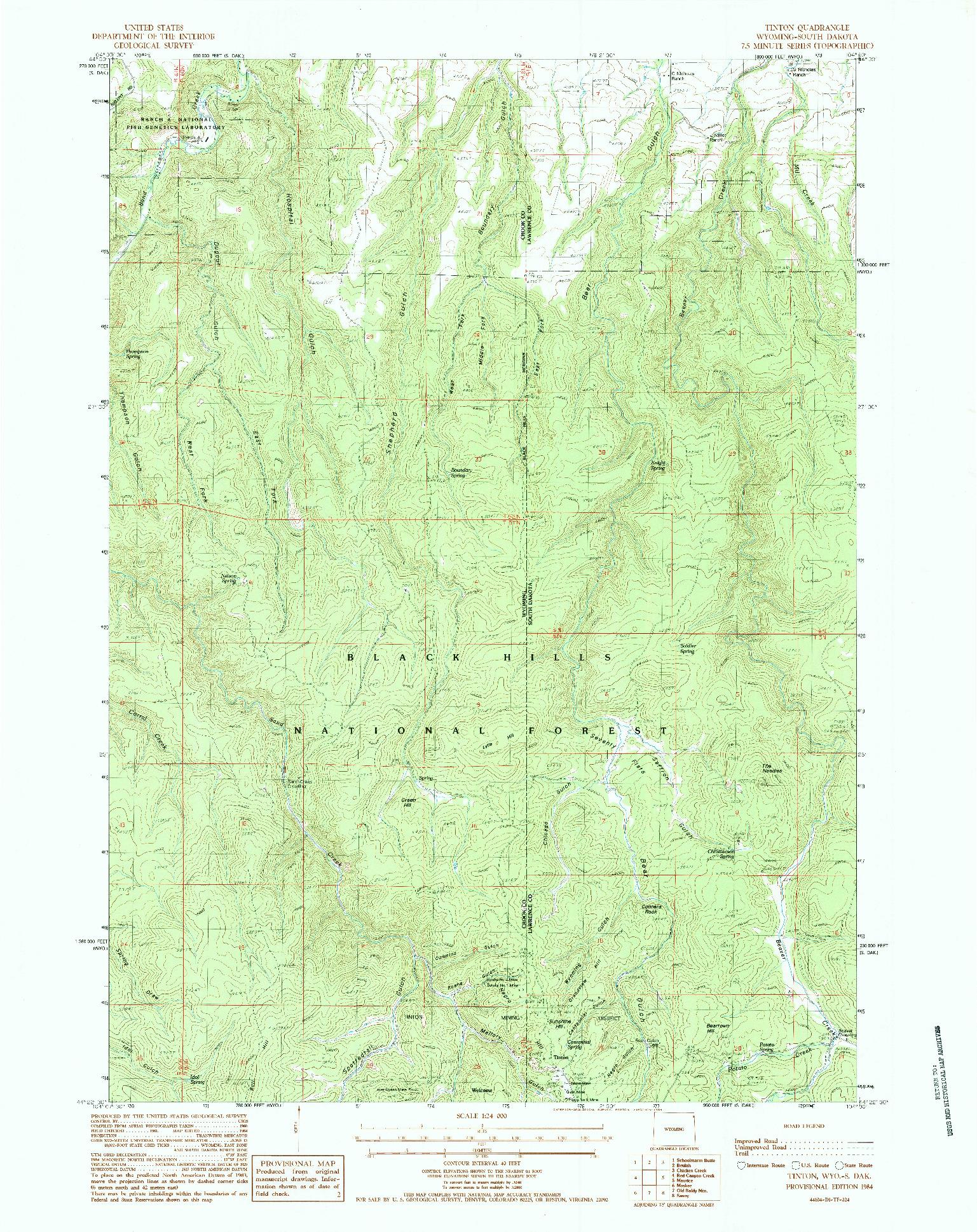 USGS 1:24000-SCALE QUADRANGLE FOR TINTON, WY 1984