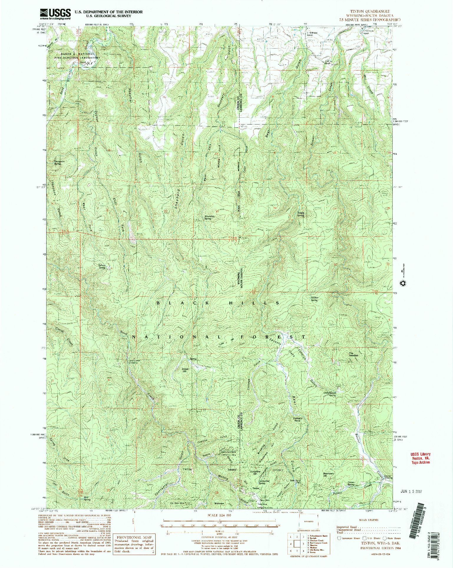 USGS 1:24000-SCALE QUADRANGLE FOR TINTON, WY 1984