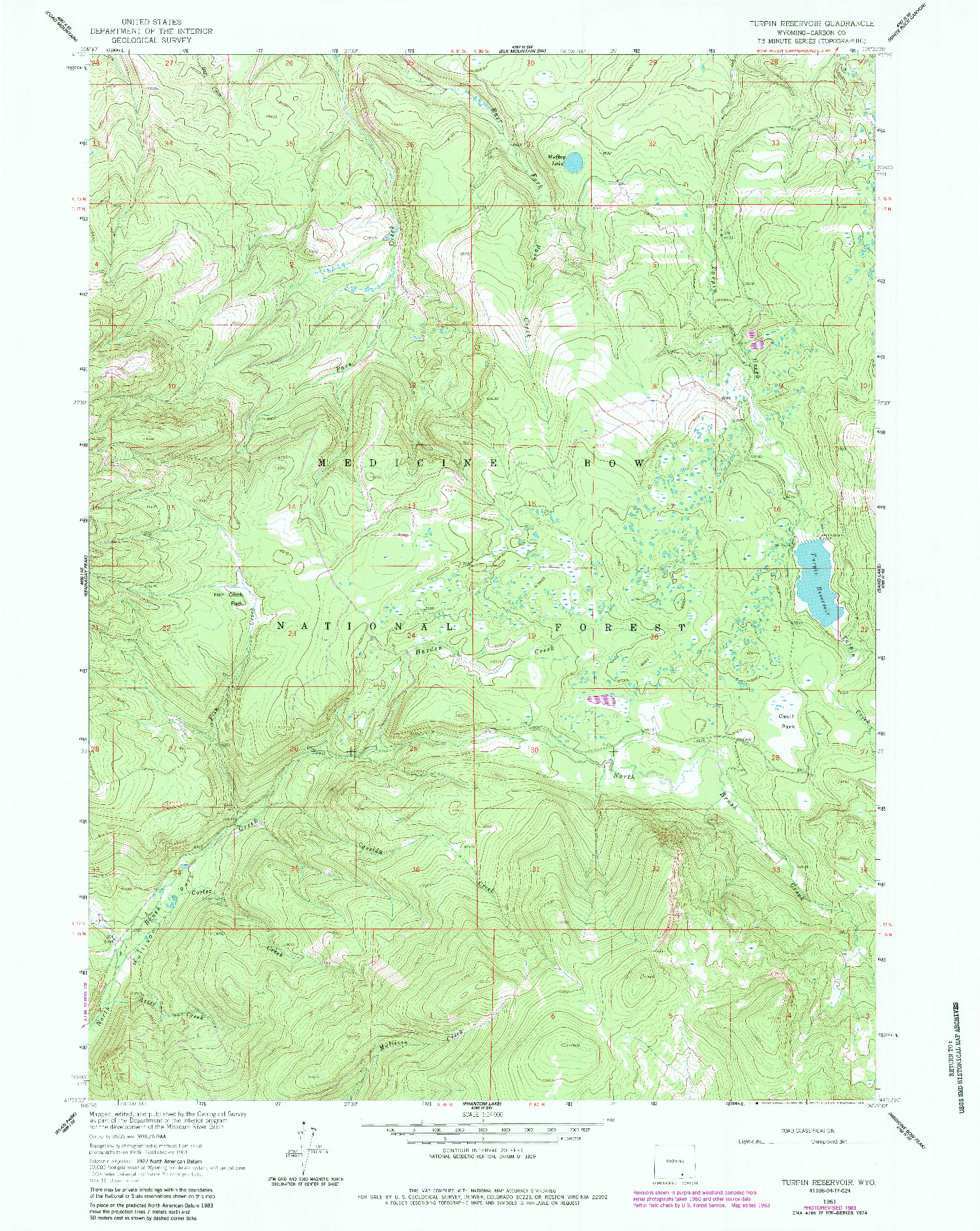 USGS 1:24000-SCALE QUADRANGLE FOR TURPIN RESERVOIR, WY 1961
