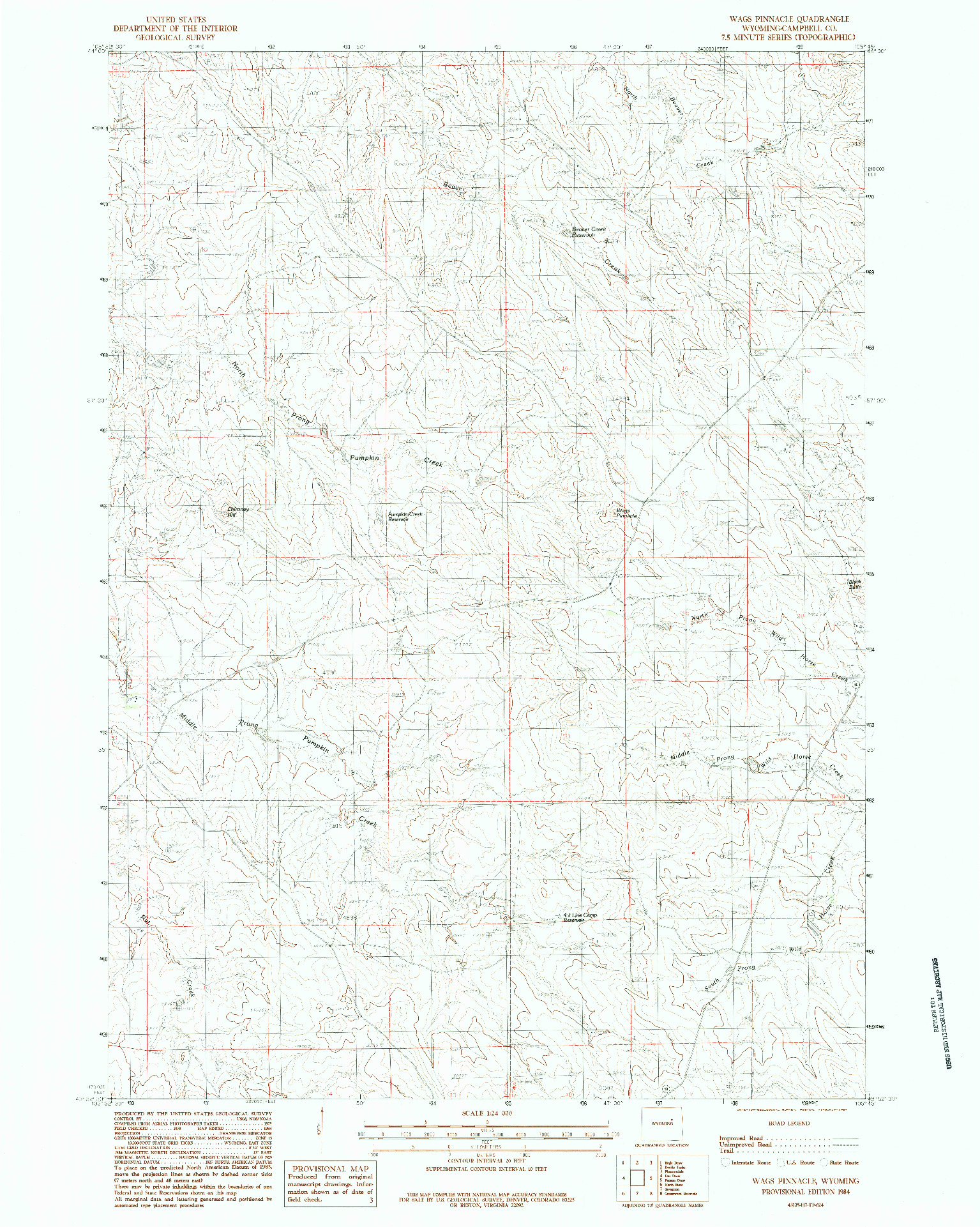 USGS 1:24000-SCALE QUADRANGLE FOR WAGS PINNACLE, WY 1984