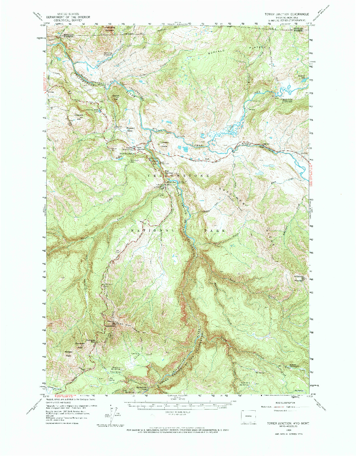 USGS 1:62500-SCALE QUADRANGLE FOR TOWER JUNCTION, WY 1959