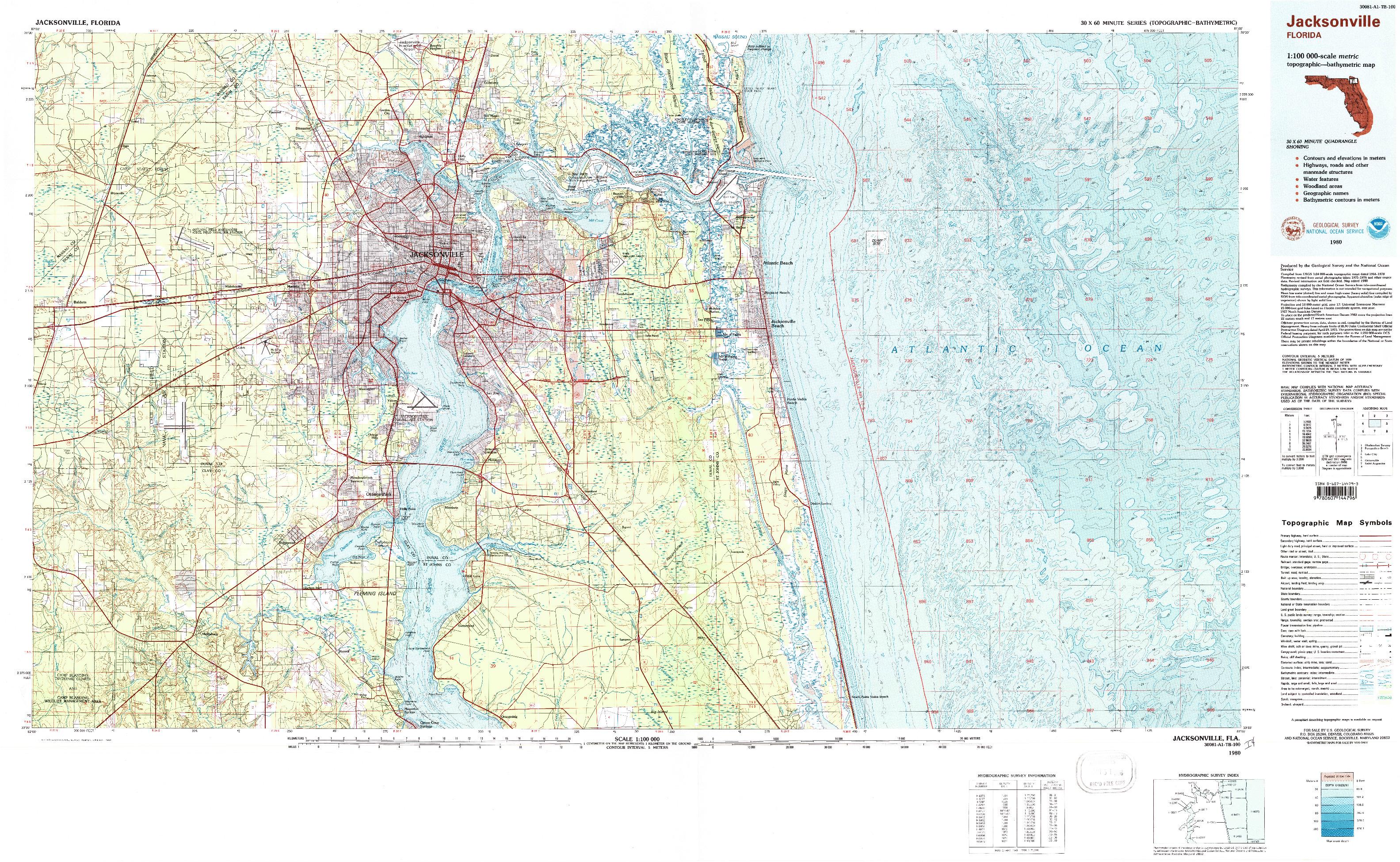 USGS 1:100000-SCALE QUADRANGLE FOR JACKSONVILLE, FL 1980