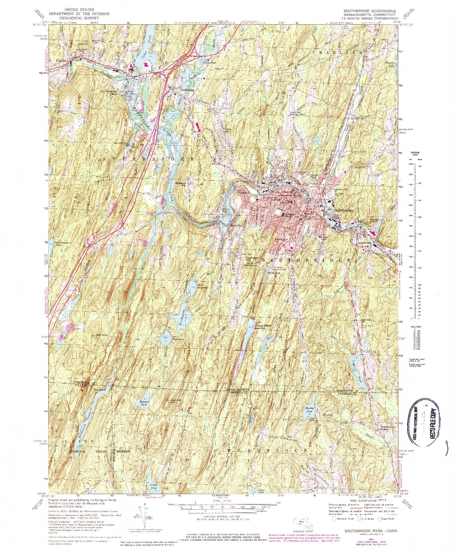 USGS 1:24000-SCALE QUADRANGLE FOR SOUTHBRIDGE, MA 1967