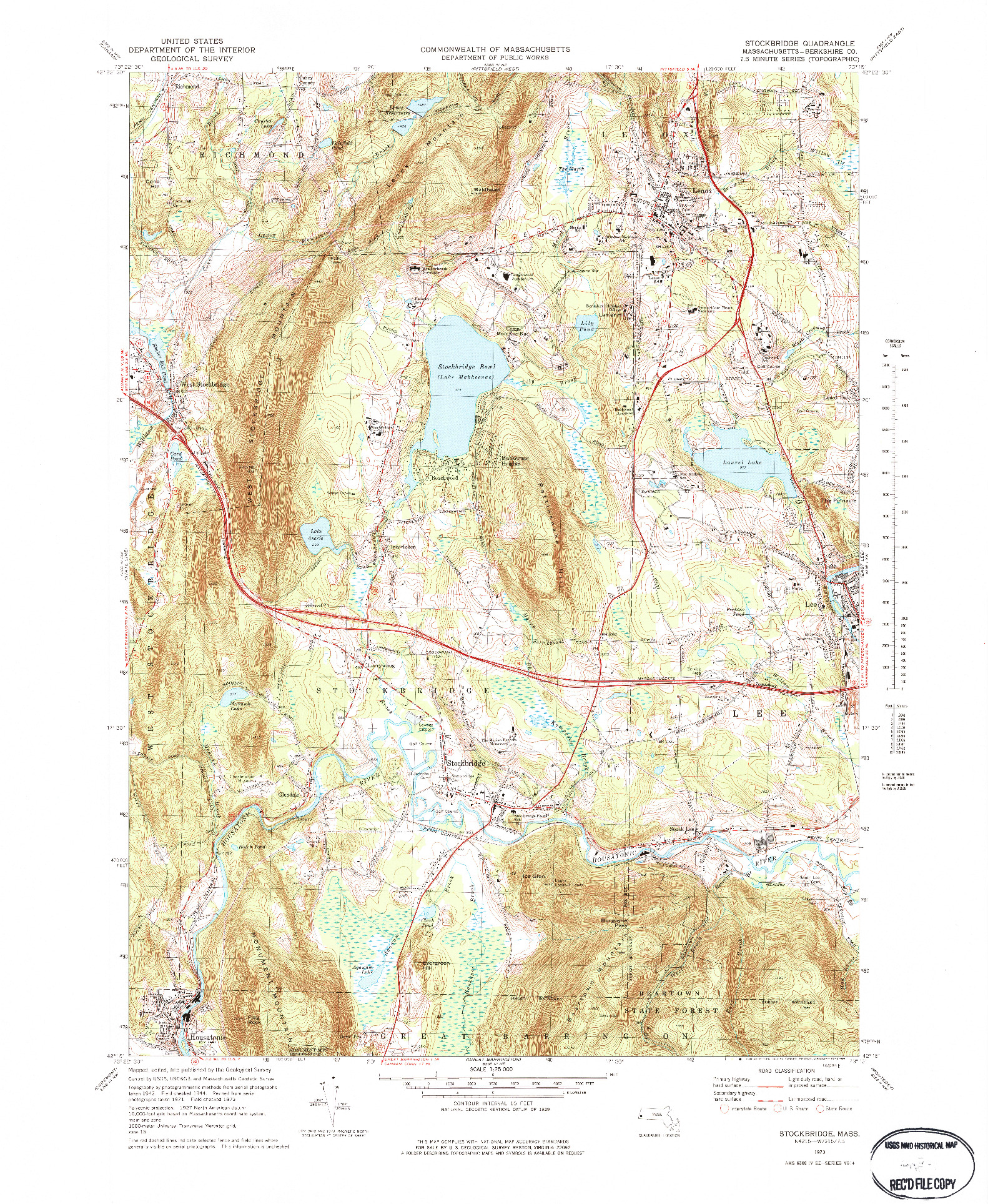 USGS 1:25000-SCALE QUADRANGLE FOR STOCKBRIDGE, MA 1973