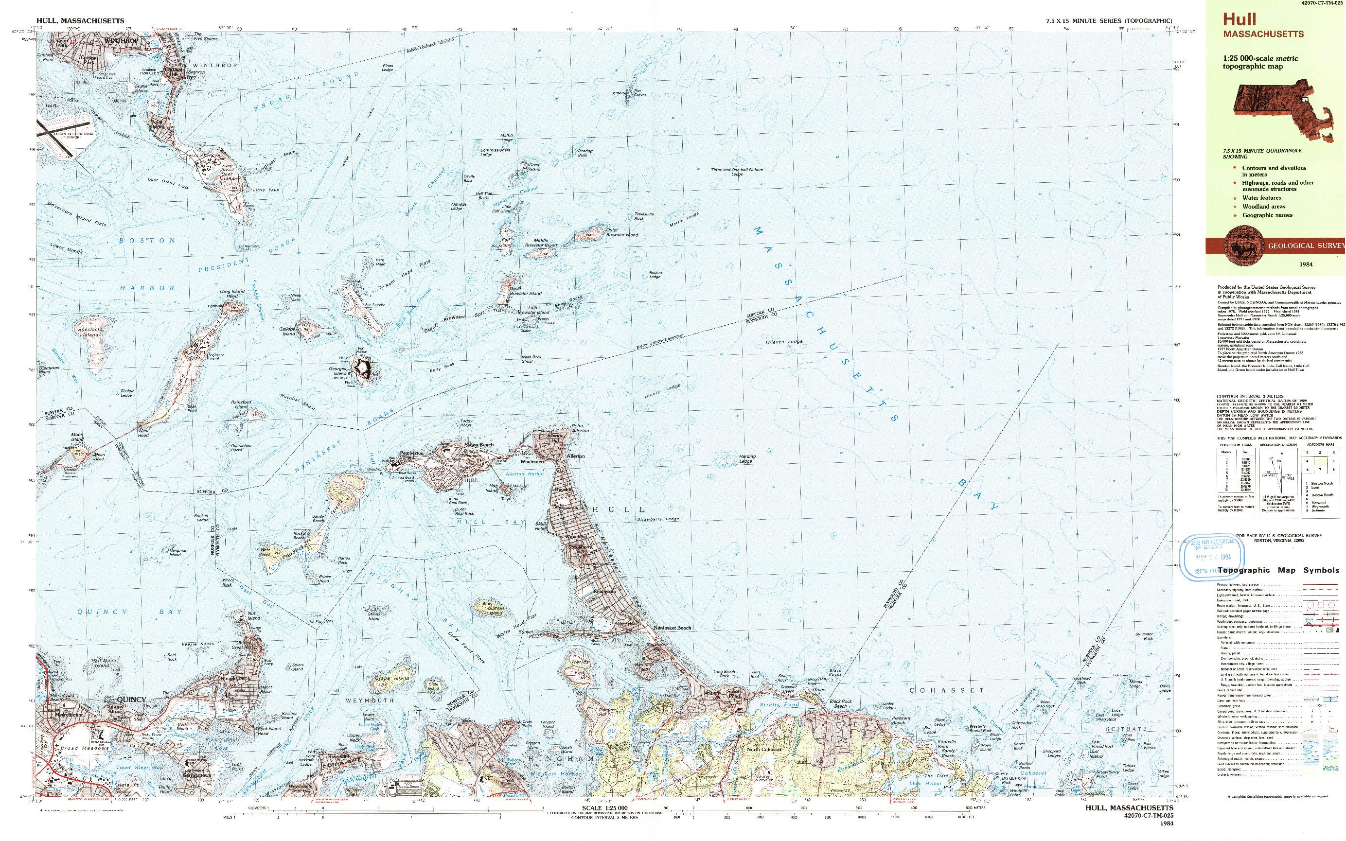 USGS 1:25000-SCALE QUADRANGLE FOR HULL, MA 1984