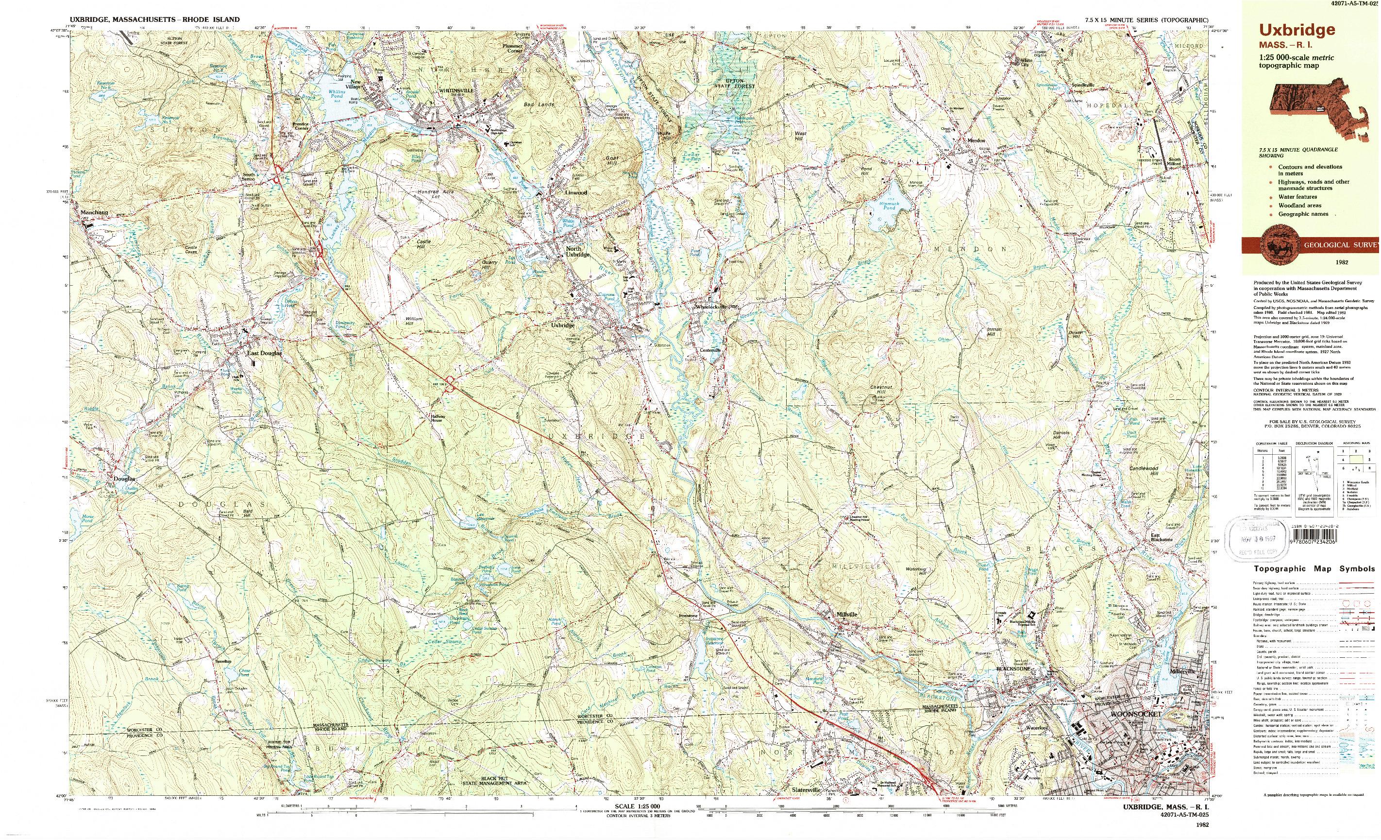 USGS 1:25000-SCALE QUADRANGLE FOR UXBRIDGE, MA 1982