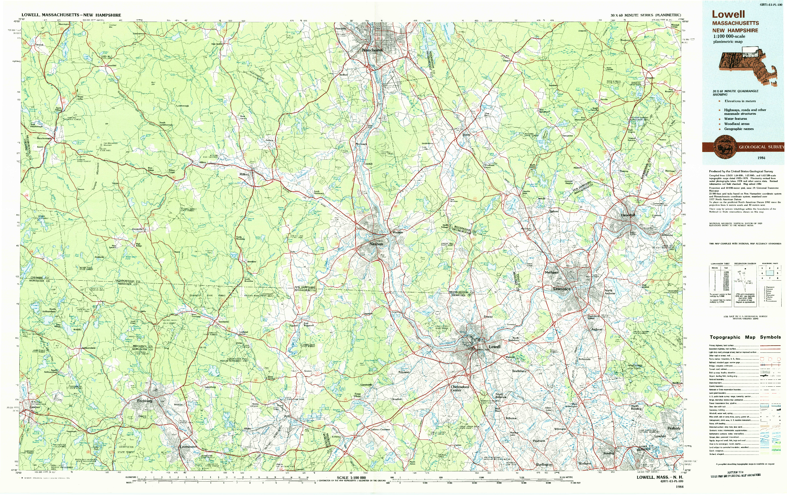 USGS 1:100000-SCALE QUADRANGLE FOR LOWELL, MA 1984