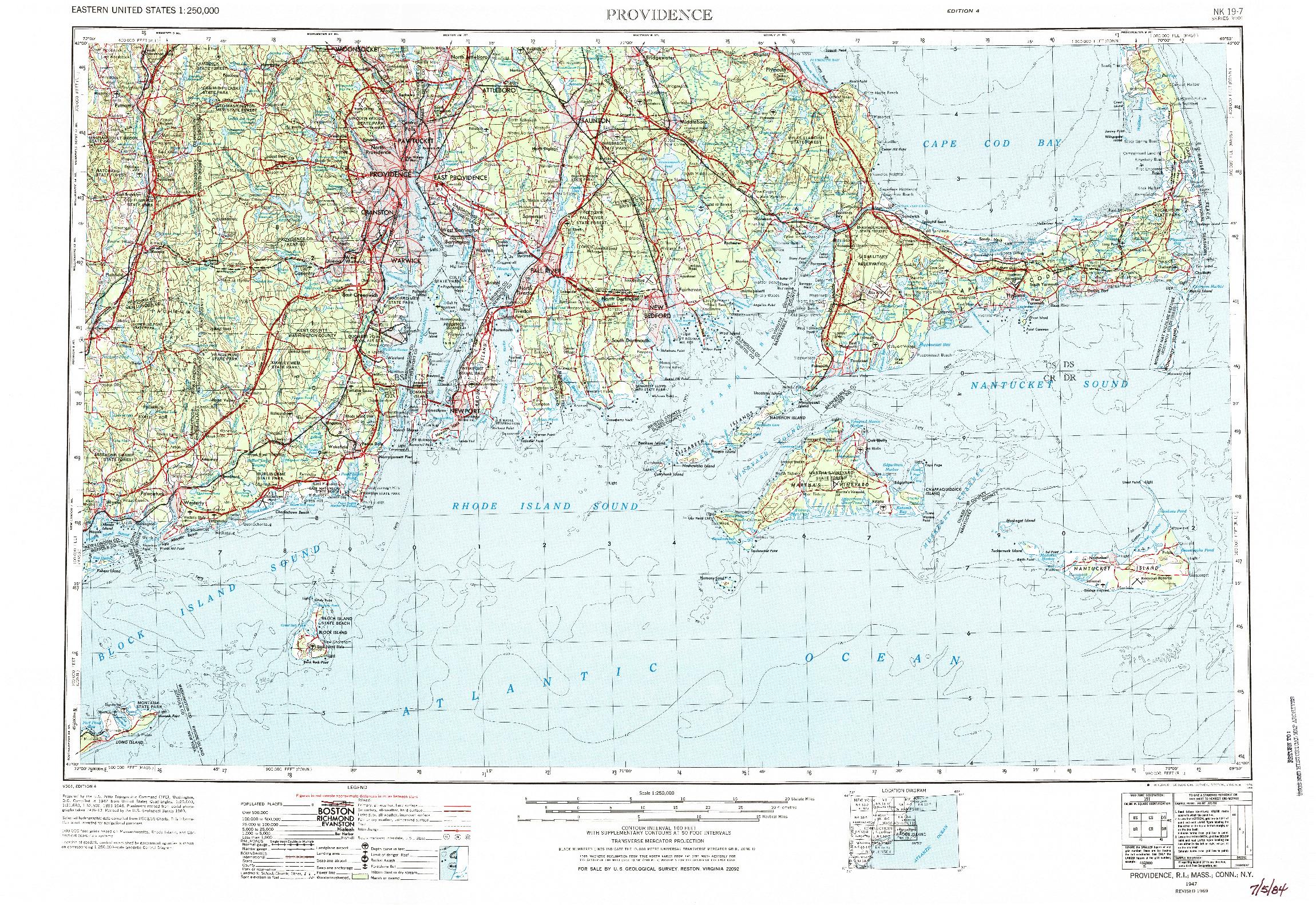 USGS 1:250000-SCALE QUADRANGLE FOR PROVIDENCE, RI 1947
