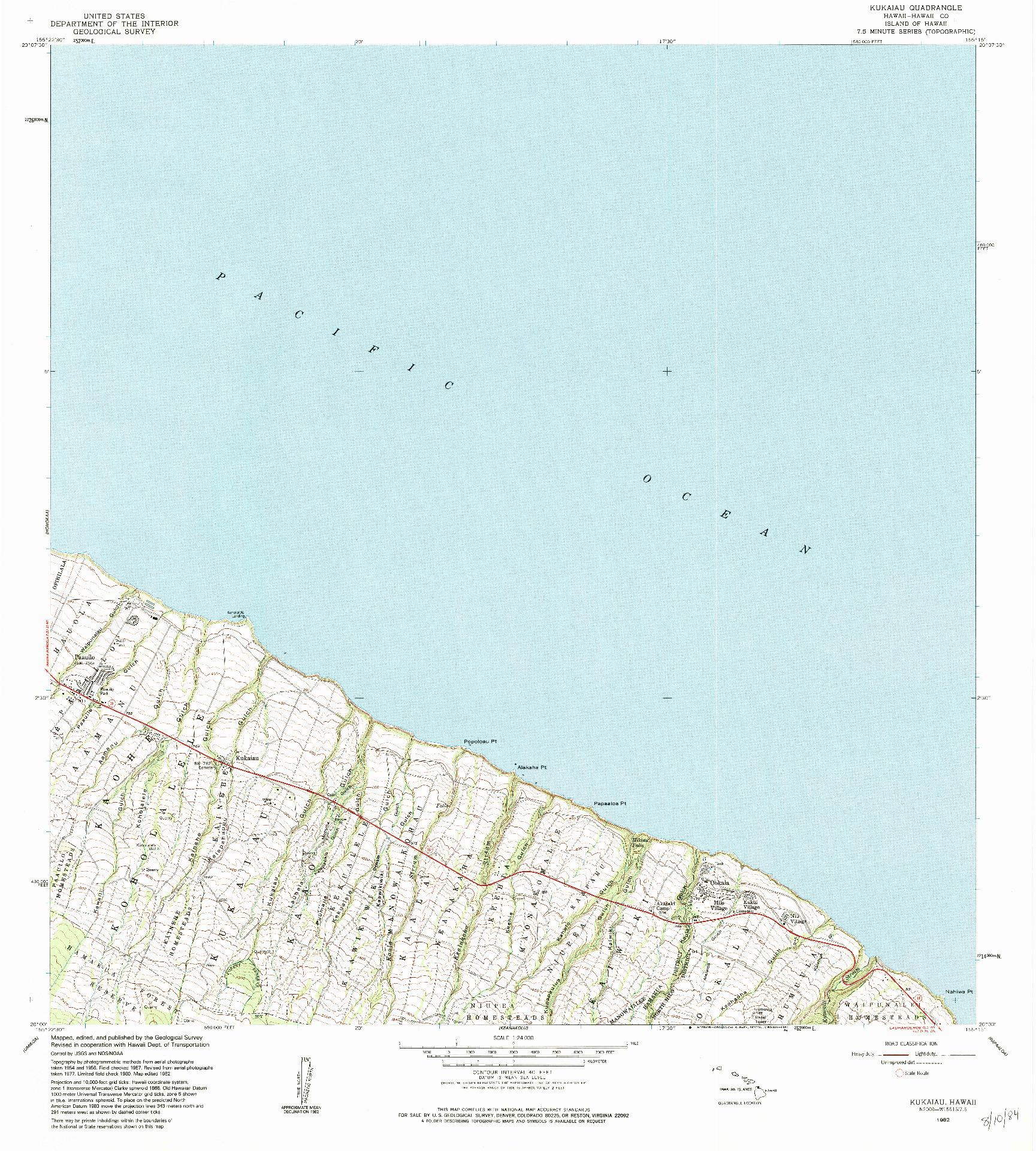 USGS 1:24000-SCALE QUADRANGLE FOR KUKAIAU, HI 1982