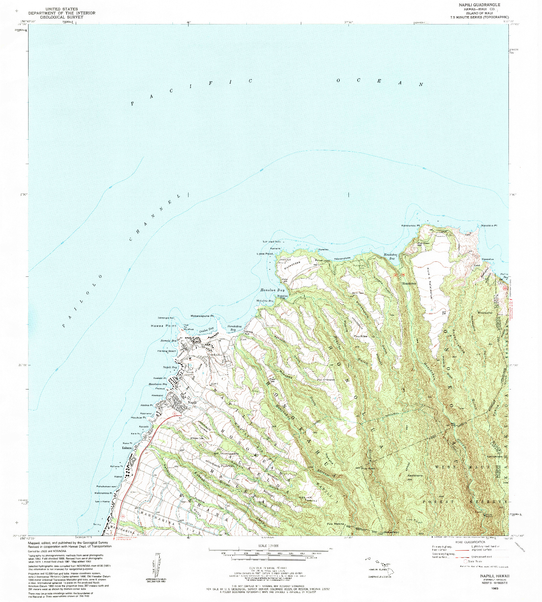 USGS 1:24000-SCALE QUADRANGLE FOR NAPILI, HI 1983