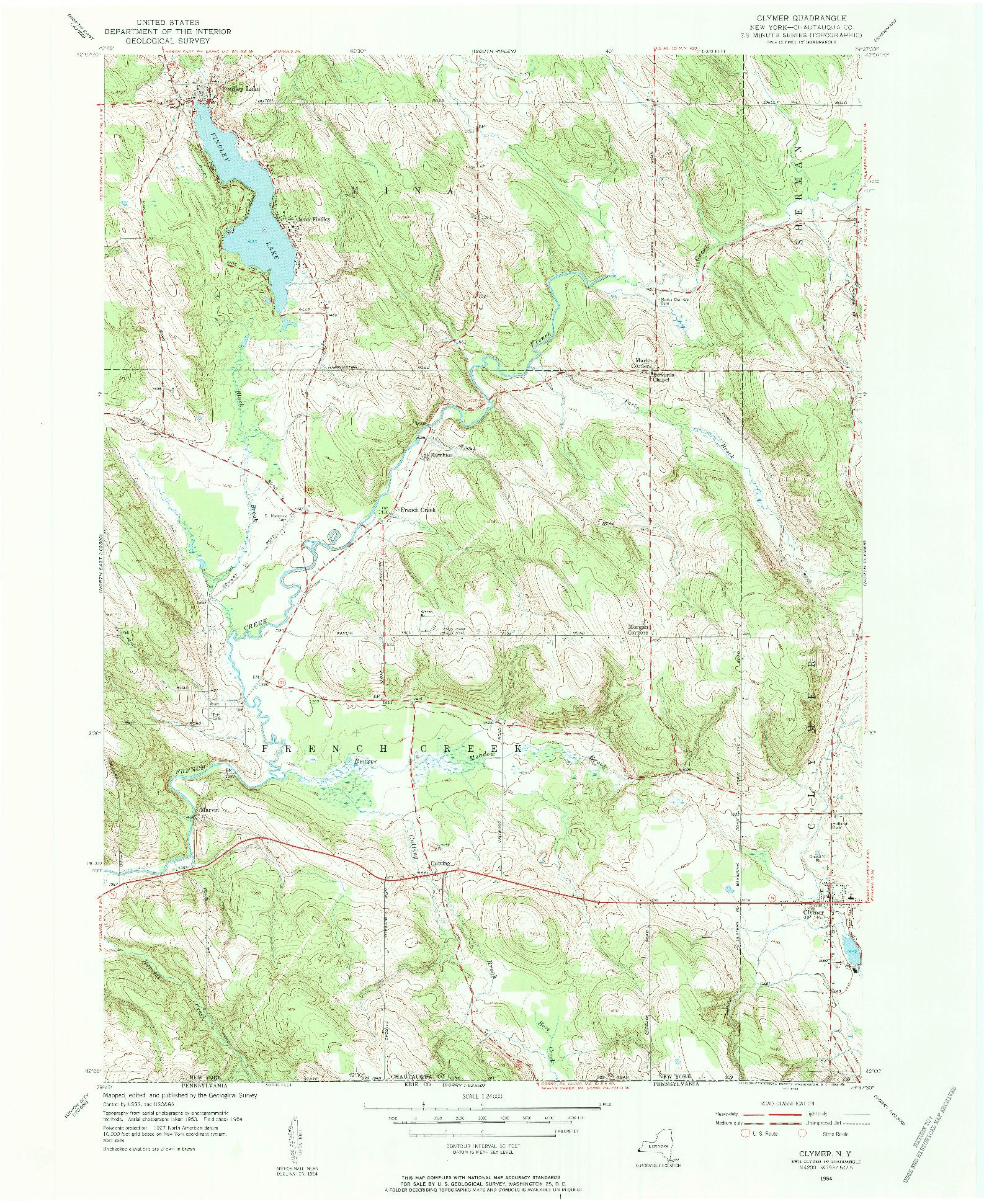 USGS 1:24000-SCALE QUADRANGLE FOR CLYMER, NY 1954