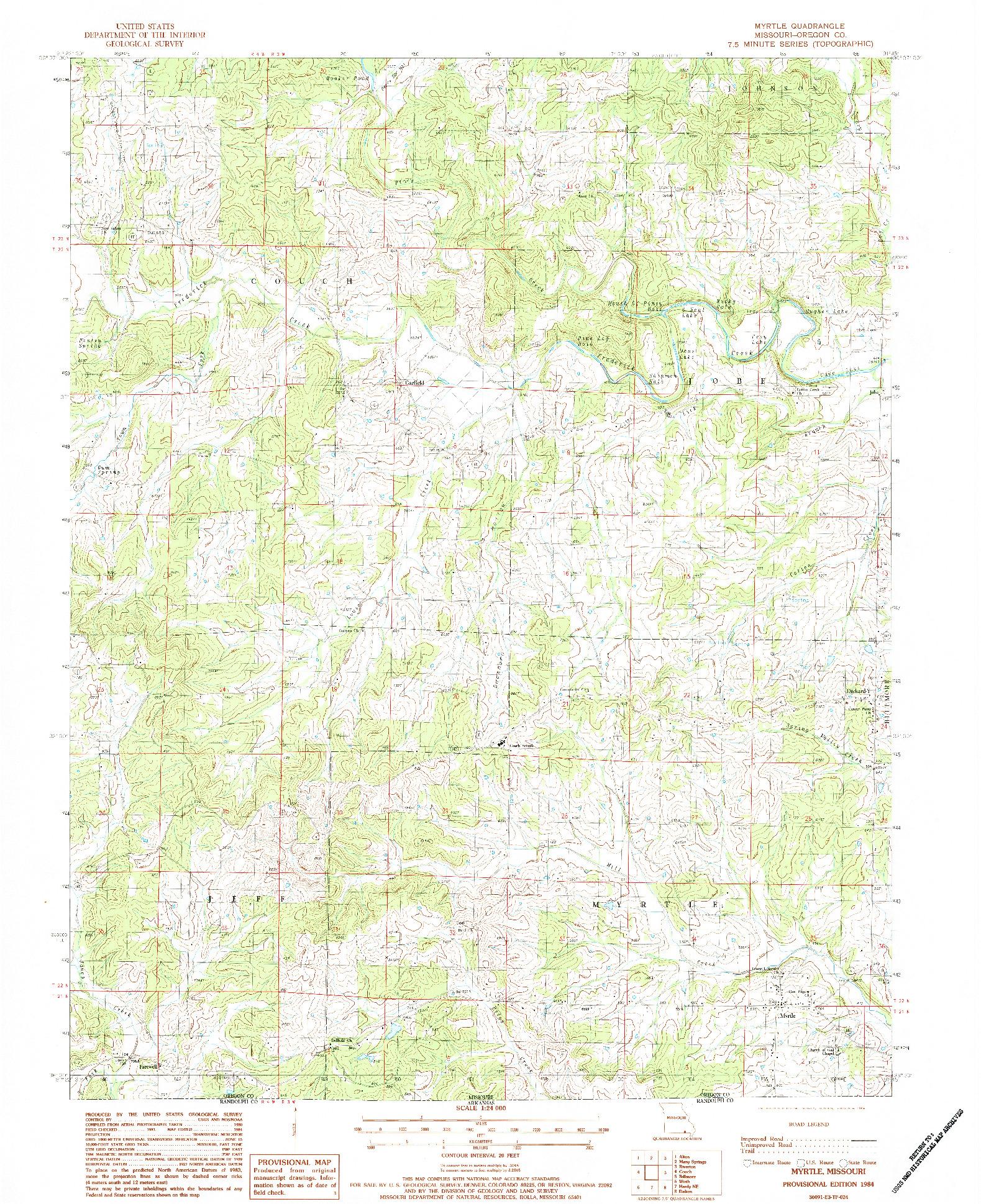 USGS 1:24000-SCALE QUADRANGLE FOR MYRTLE, MO 1984
